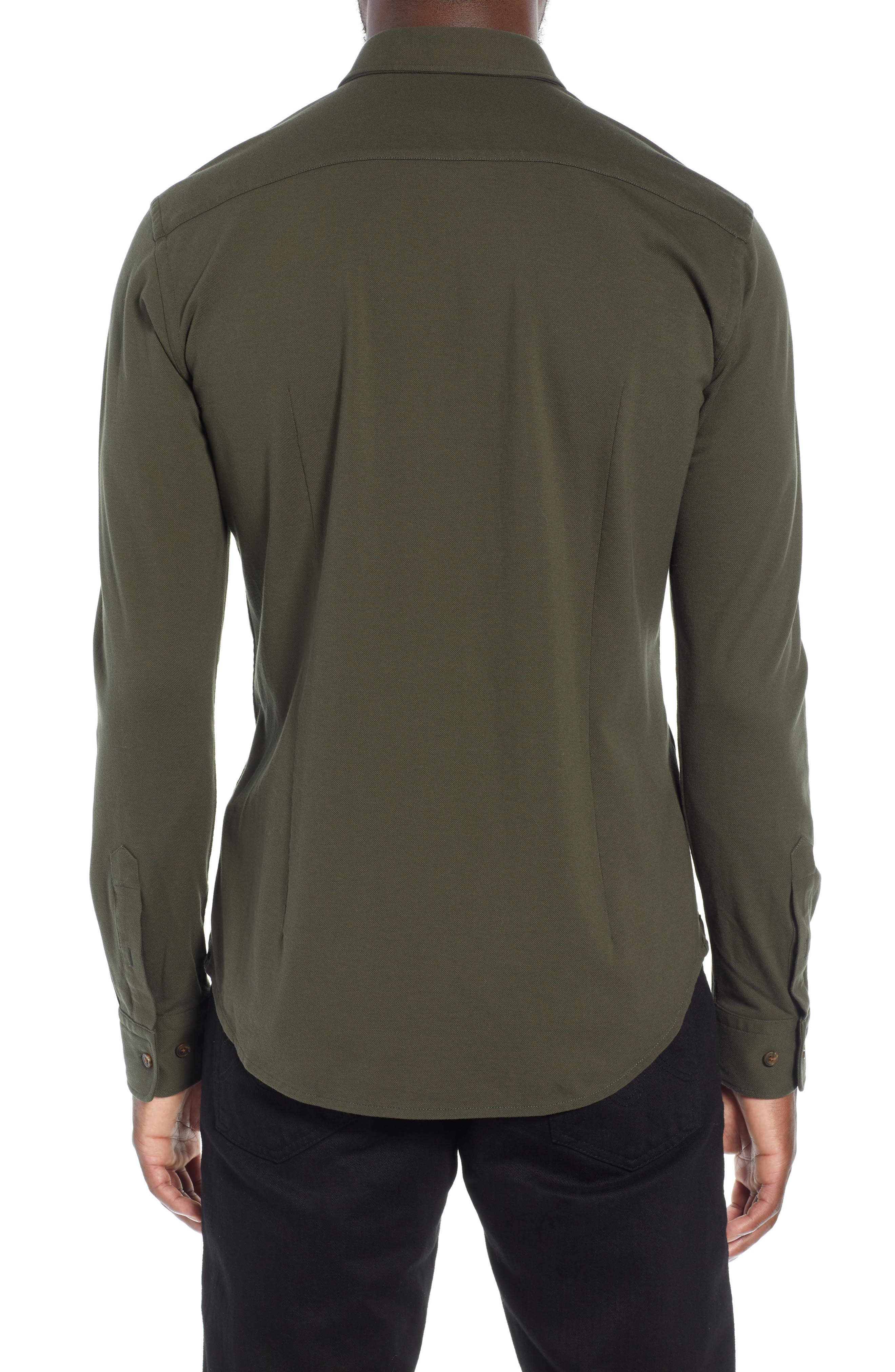 Ronni Slim Fit Solid Sport Shirt,                             Alternate thumbnail 3, color,                             GREEN