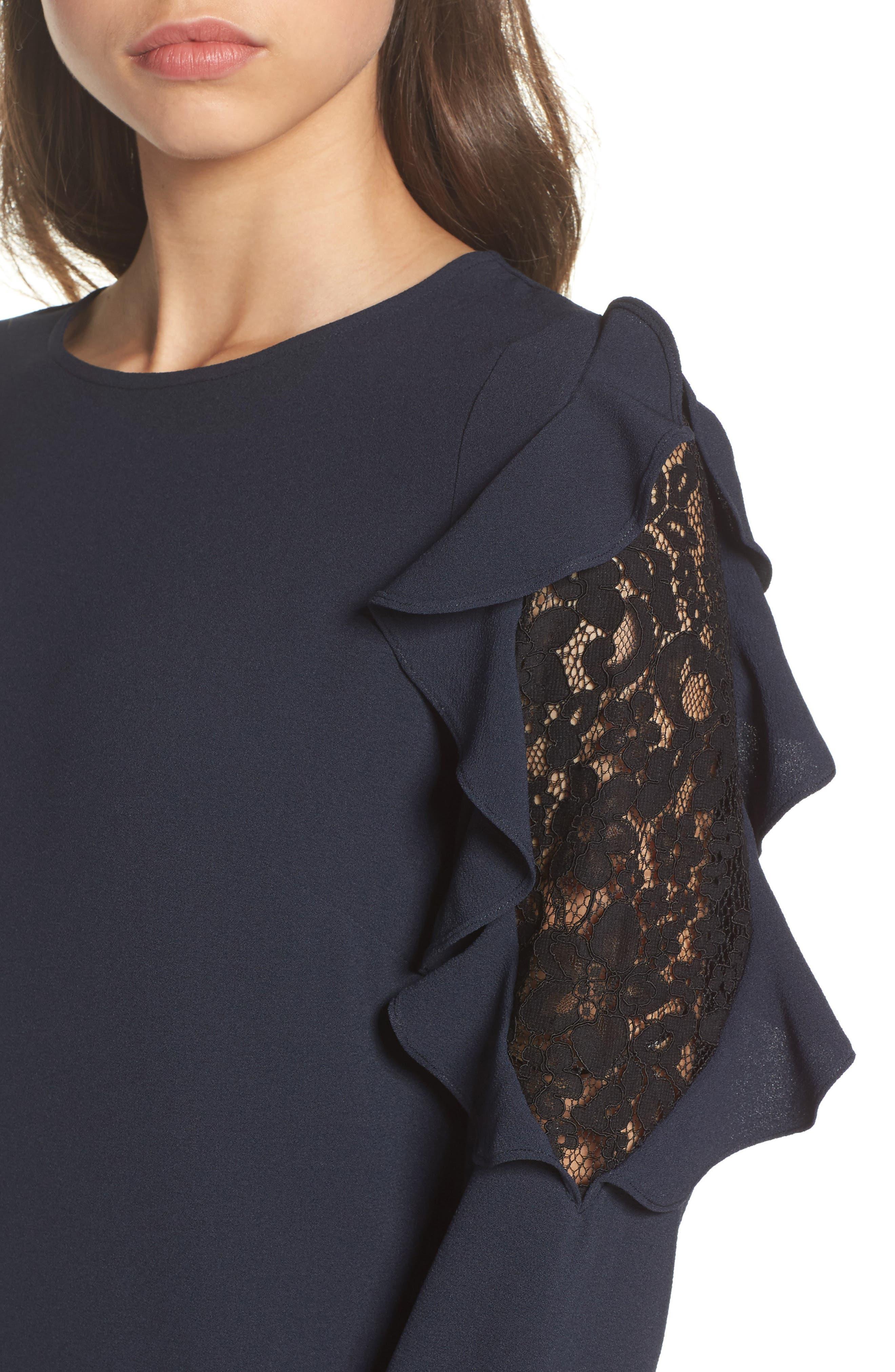 Stefani Ruffle Lace Dress,                             Alternate thumbnail 4, color,
