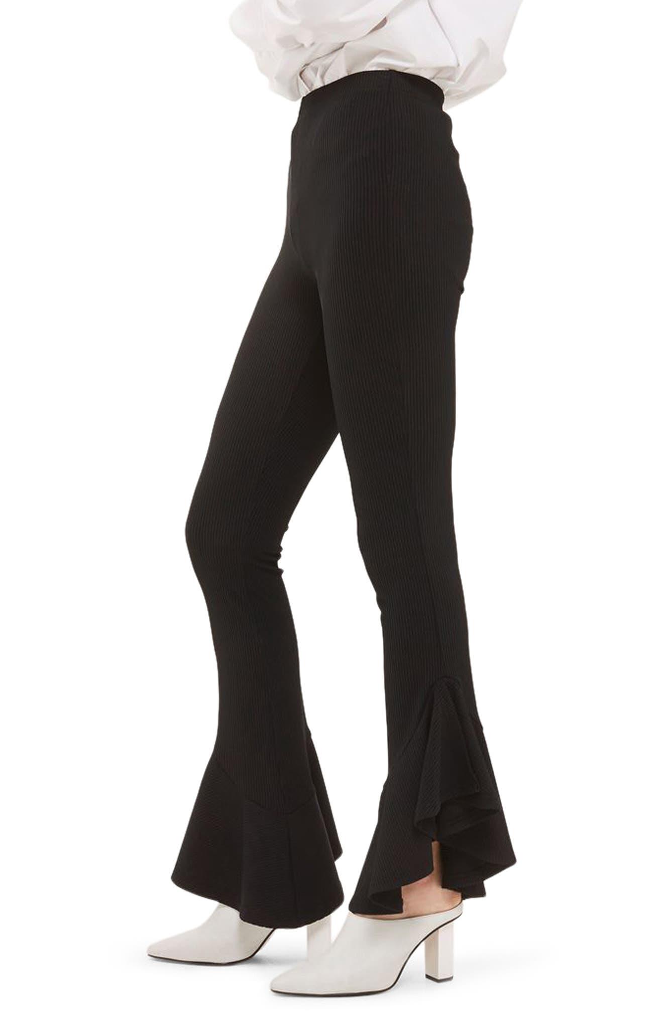 Mermaid Frill Flare Trousers,                             Alternate thumbnail 3, color,