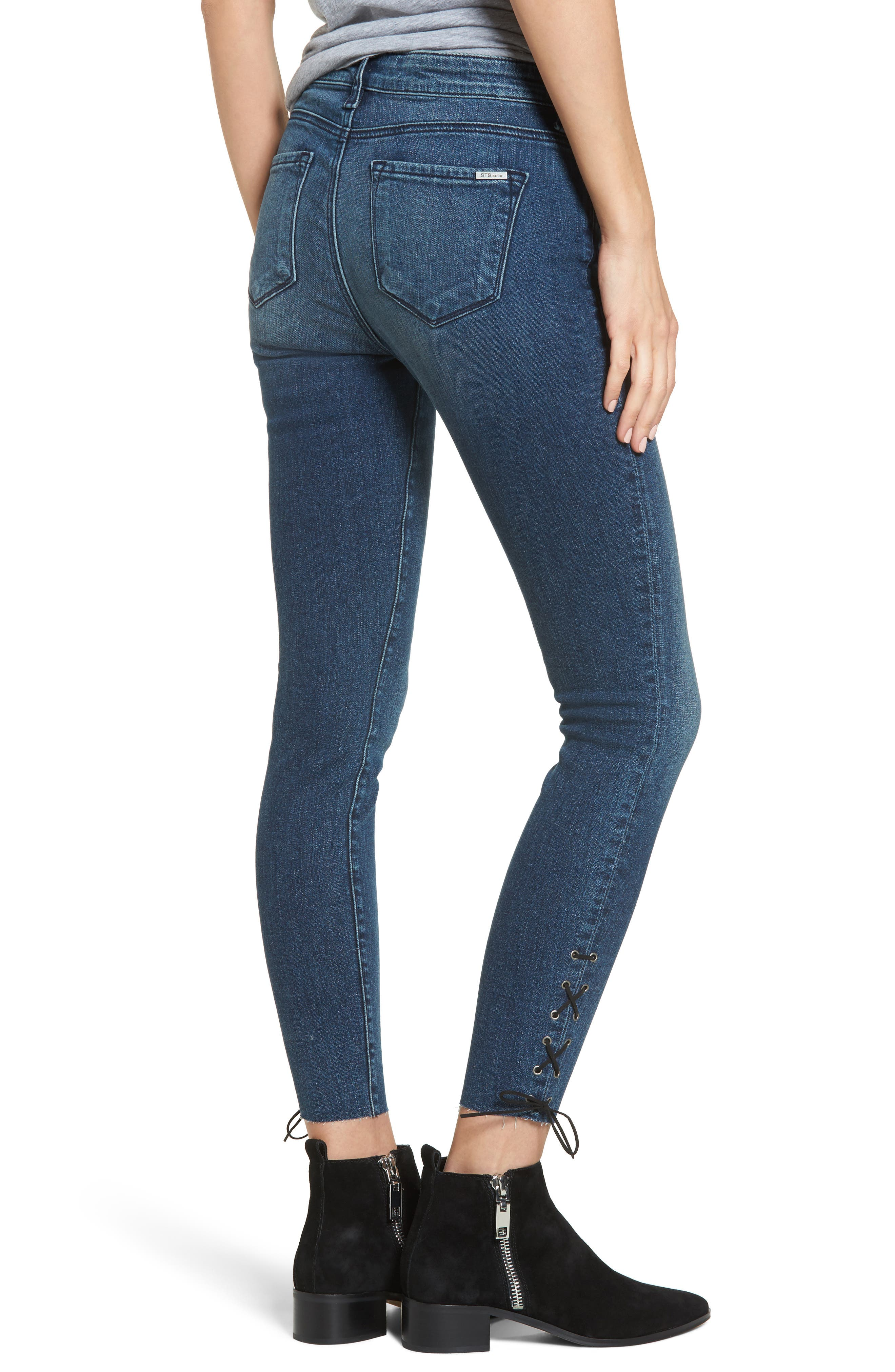 Emma Lace-Up Ankle Skinny Jeans,                             Alternate thumbnail 2, color,                             400