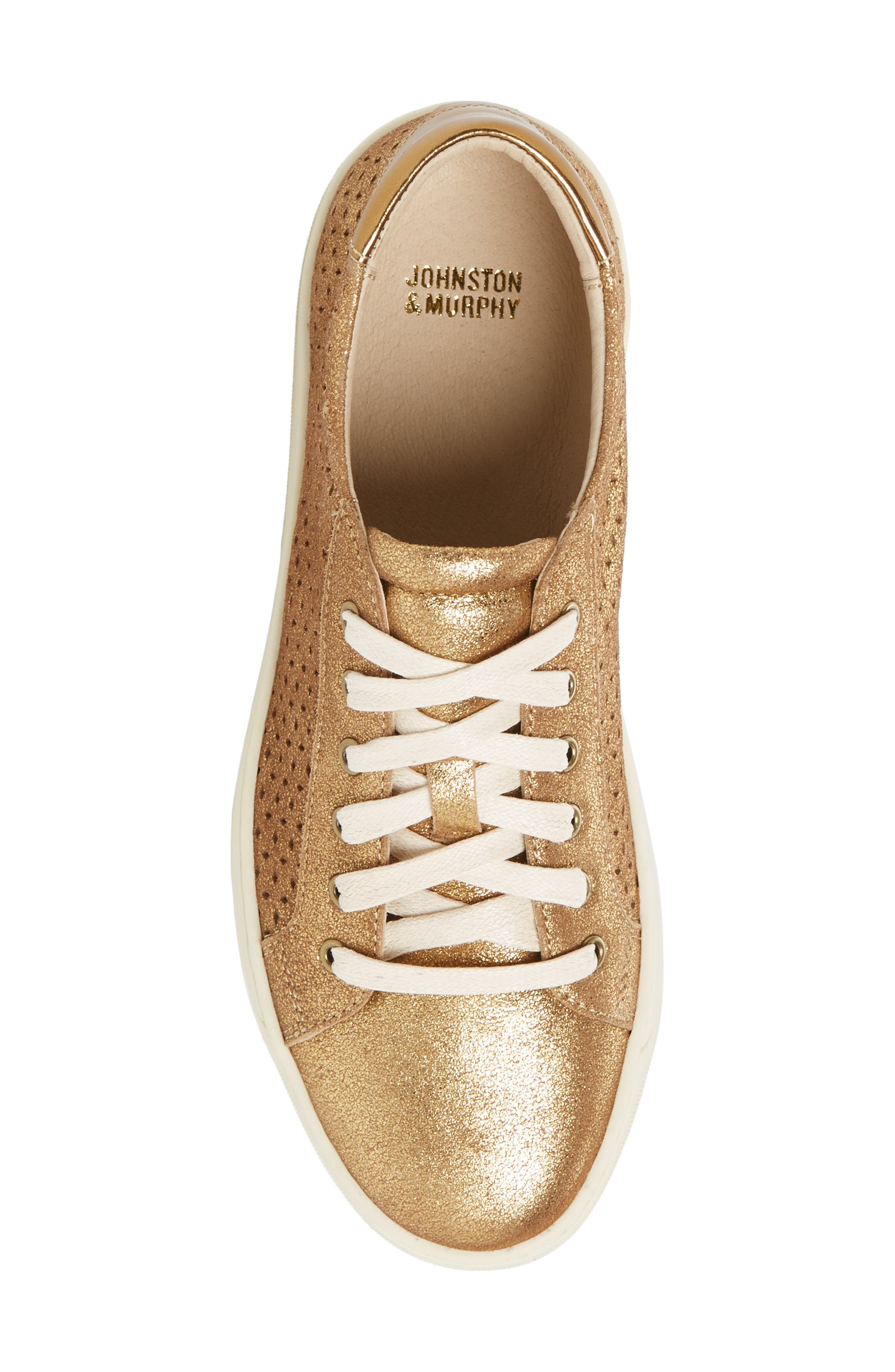 Emerson Perforated Sneaker,                             Alternate thumbnail 5, color,                             GOLD SUEDE