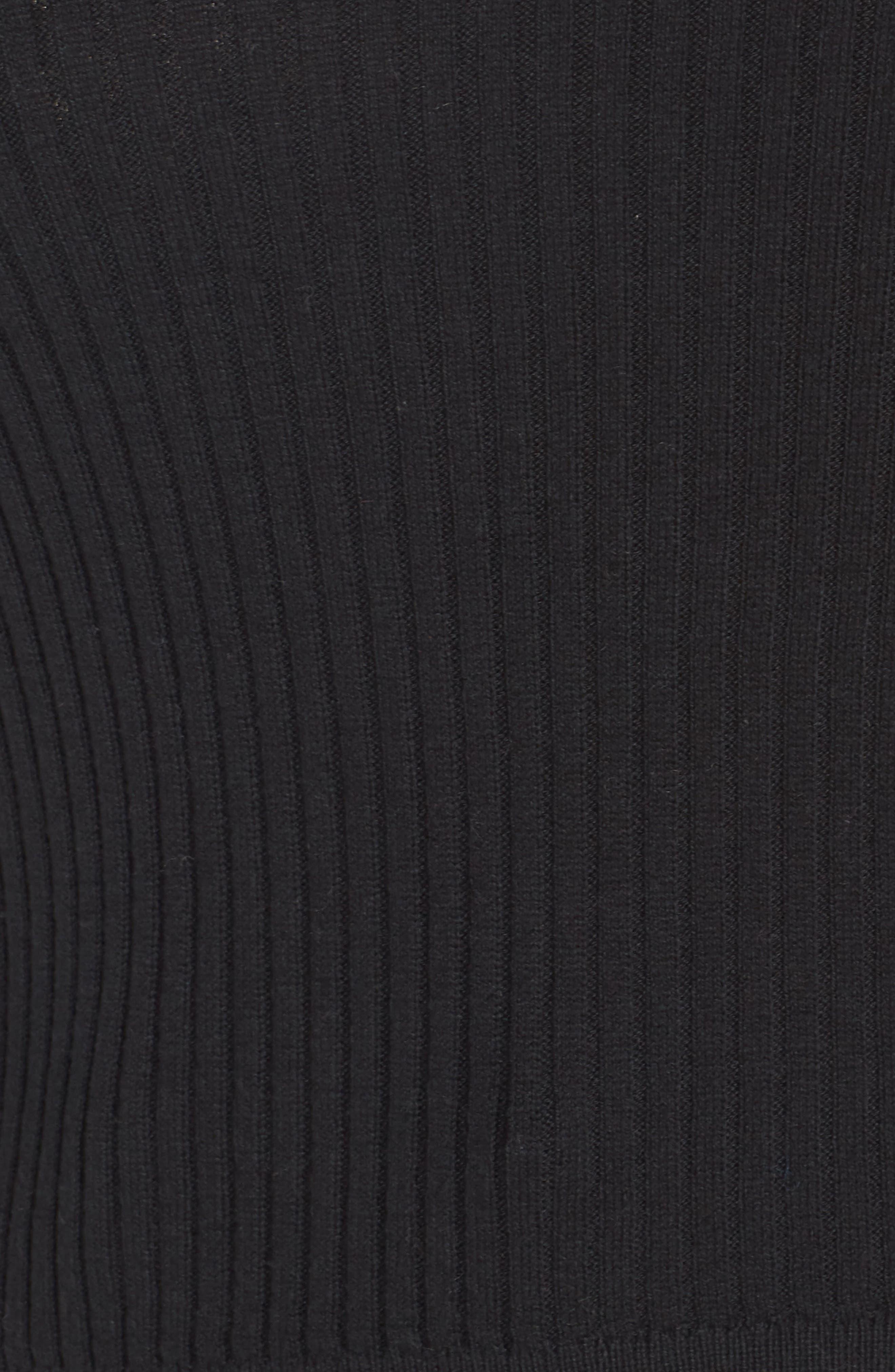 Rib Knit Mock Neck Sweater,                             Alternate thumbnail 5, color,                             BLACK