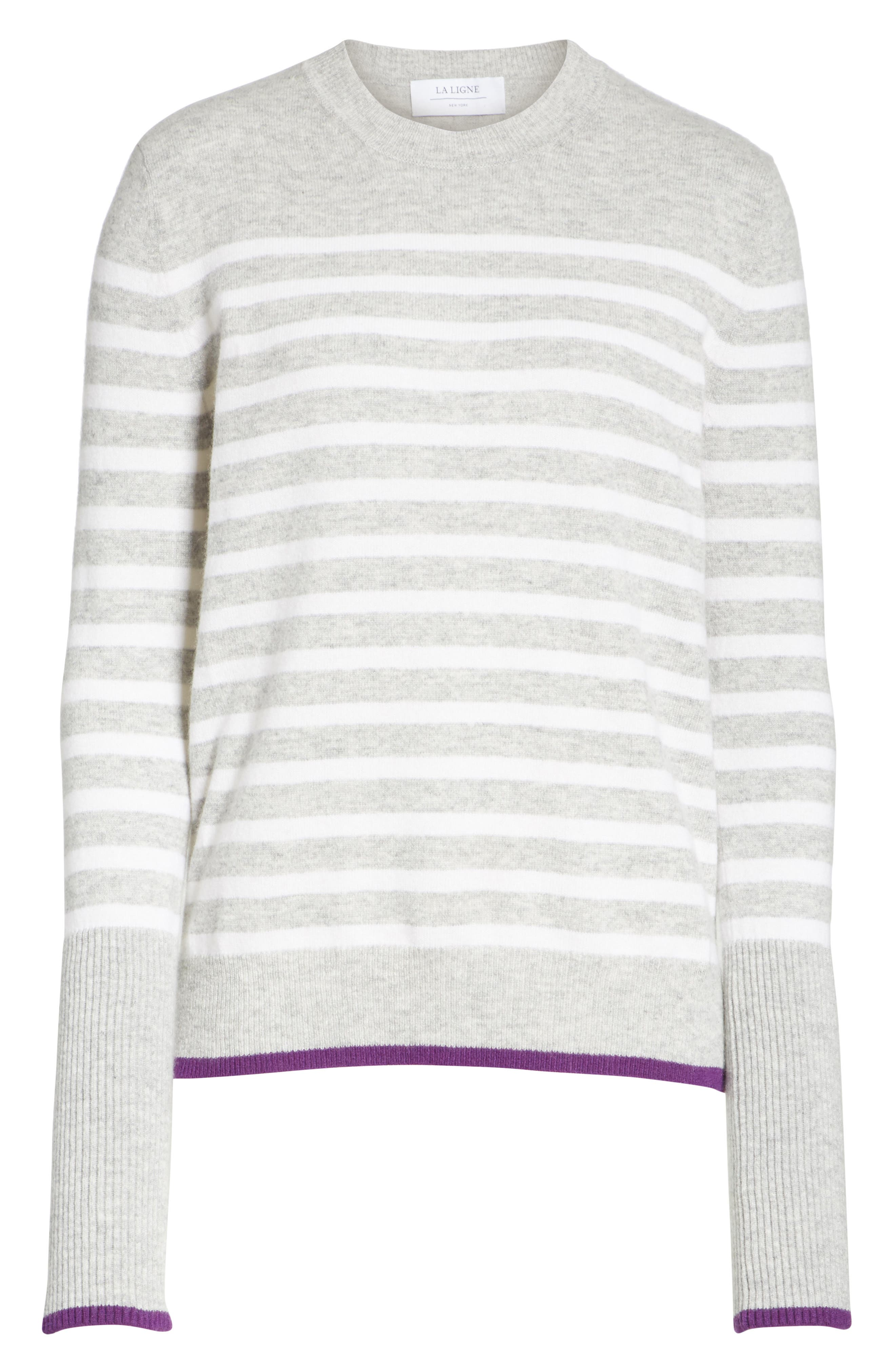 AAA Lean Lines Cashmere Sweater,                             Alternate thumbnail 6, color,                             GREY MARLE/ CREAM/ PURPLE