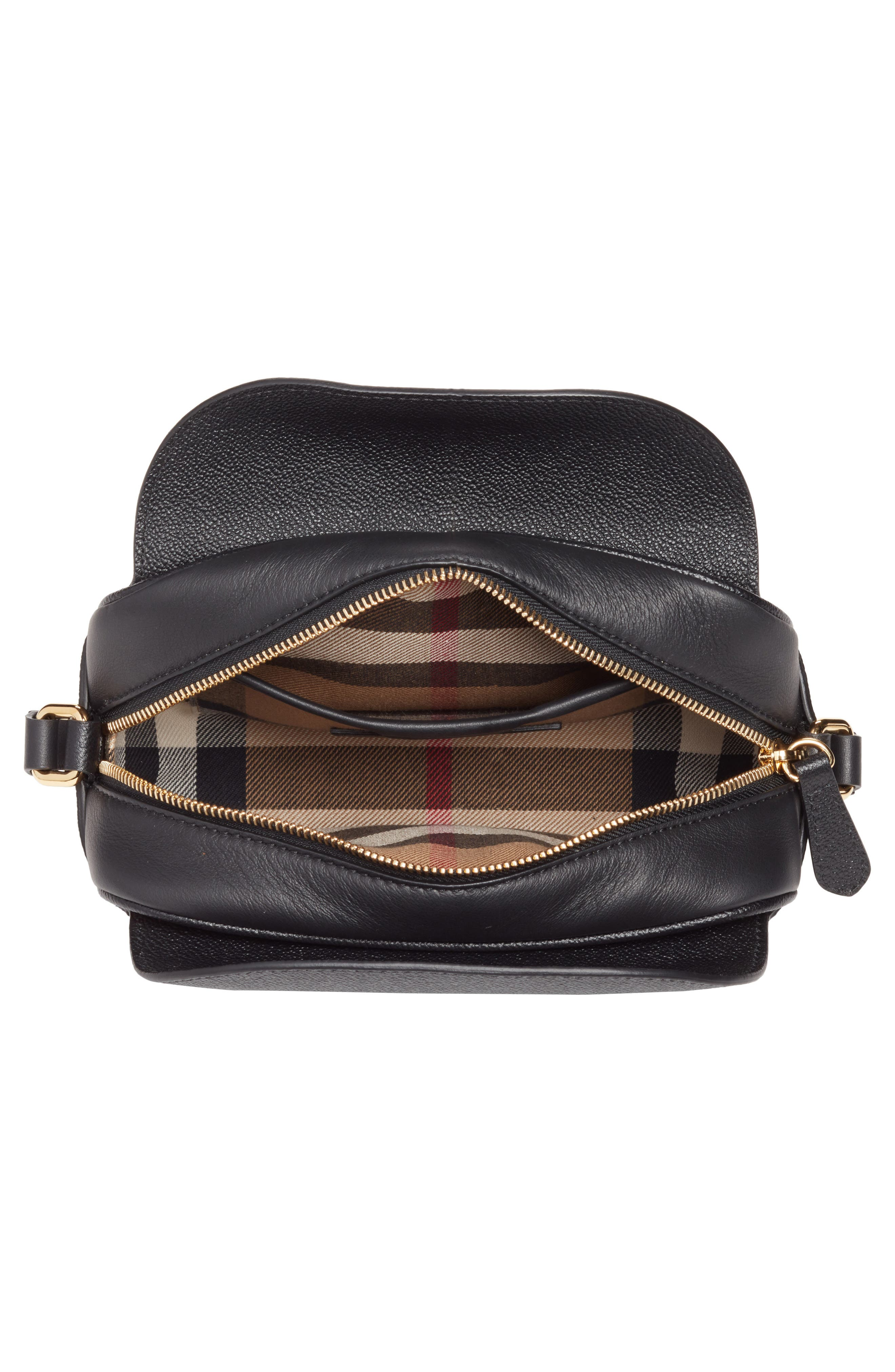 Small Buckle Leather Crossbody Bag,                             Alternate thumbnail 3, color,                             001