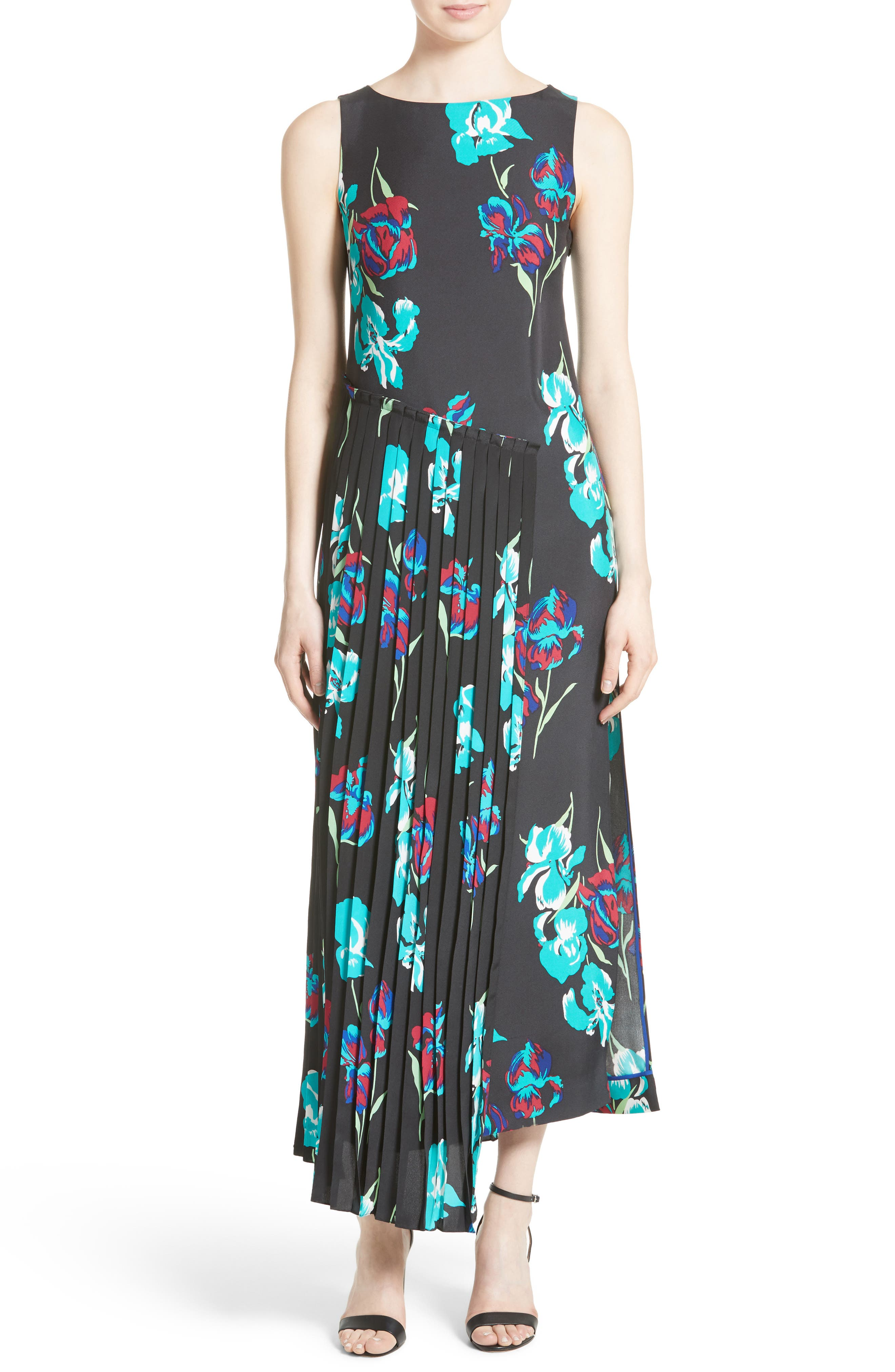 Print Silk Pleated Overlay Dress,                             Main thumbnail 1, color,                             009