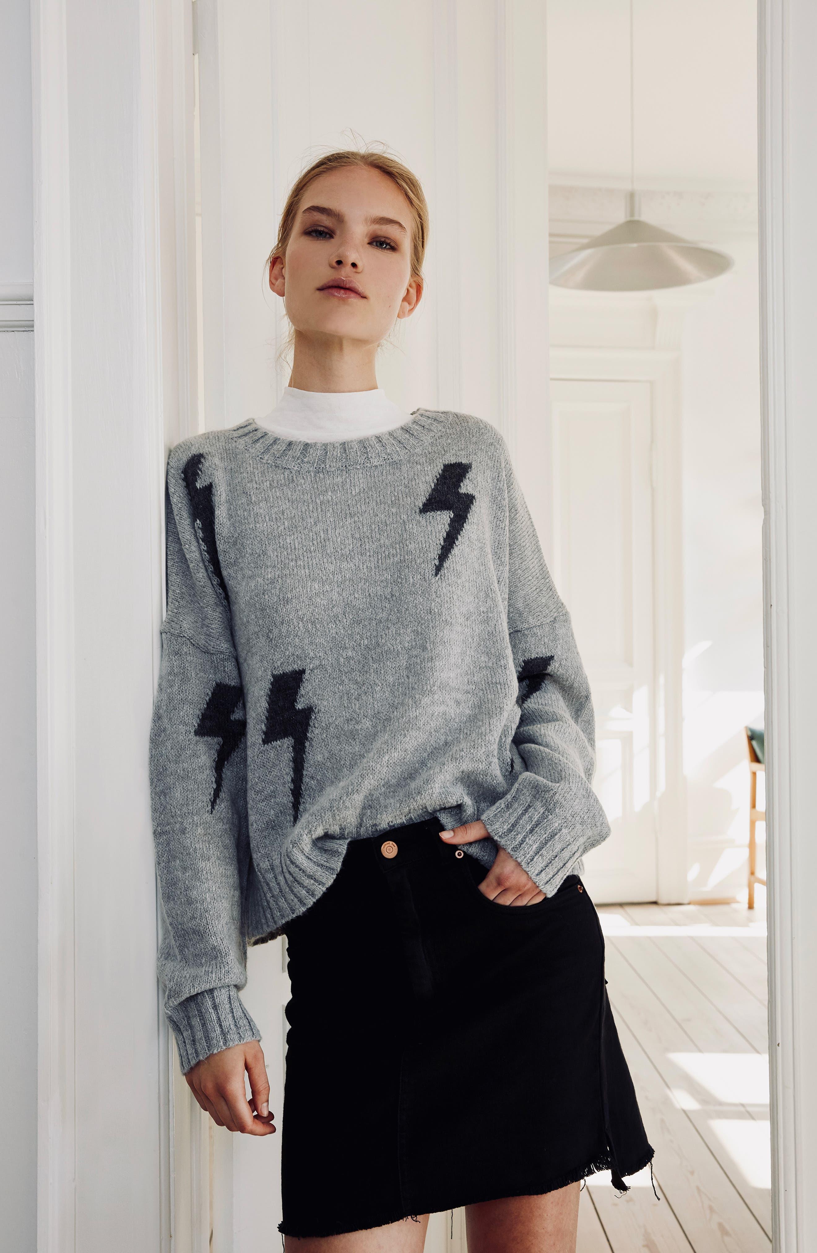 Perci Sweater,                             Alternate thumbnail 2, color,                             GREY/CHARCOAL LIGHTNING