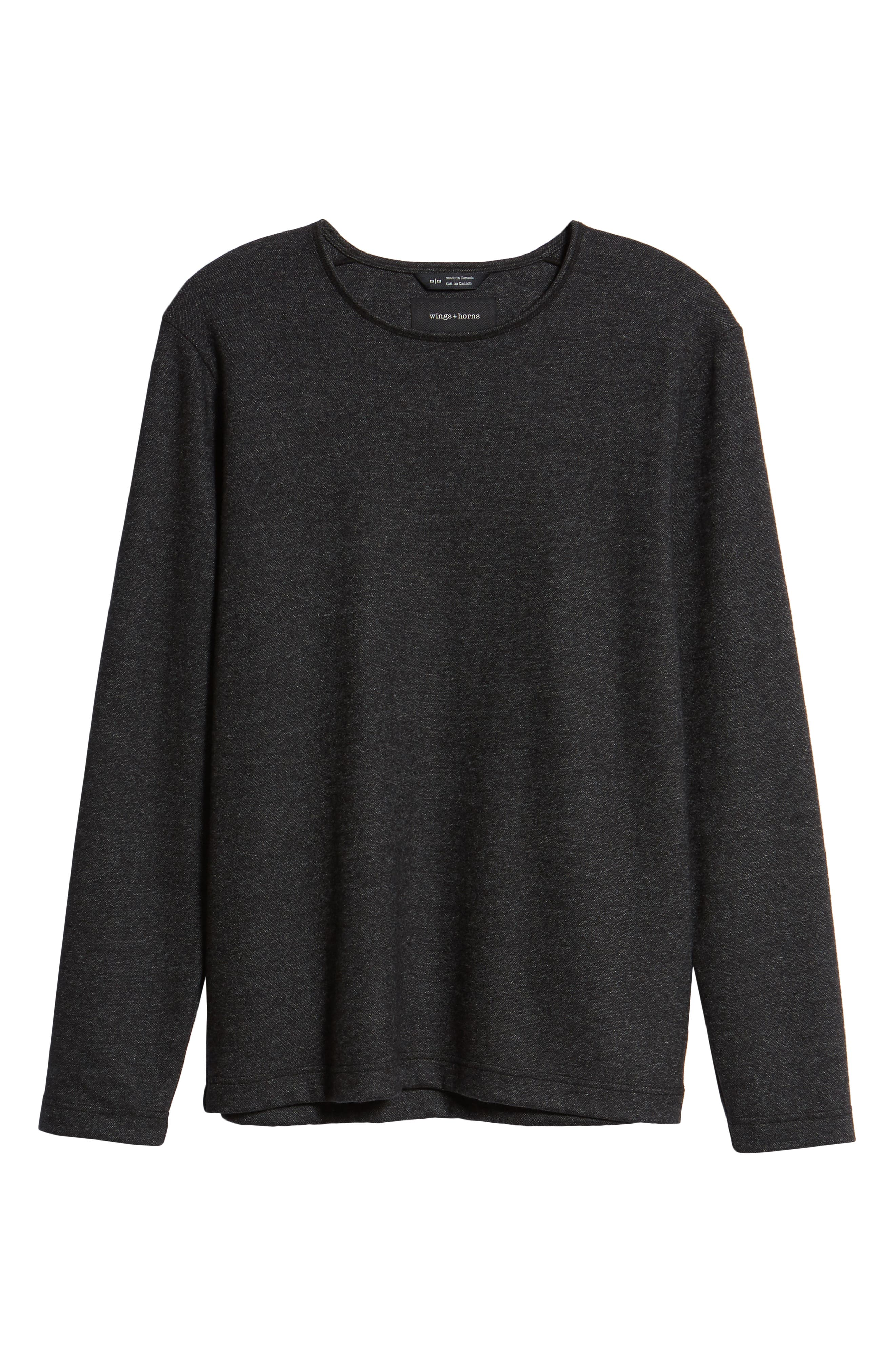 Crewneck Wool Blend Sweater,                             Alternate thumbnail 6, color,                             MEDIUM BLACK