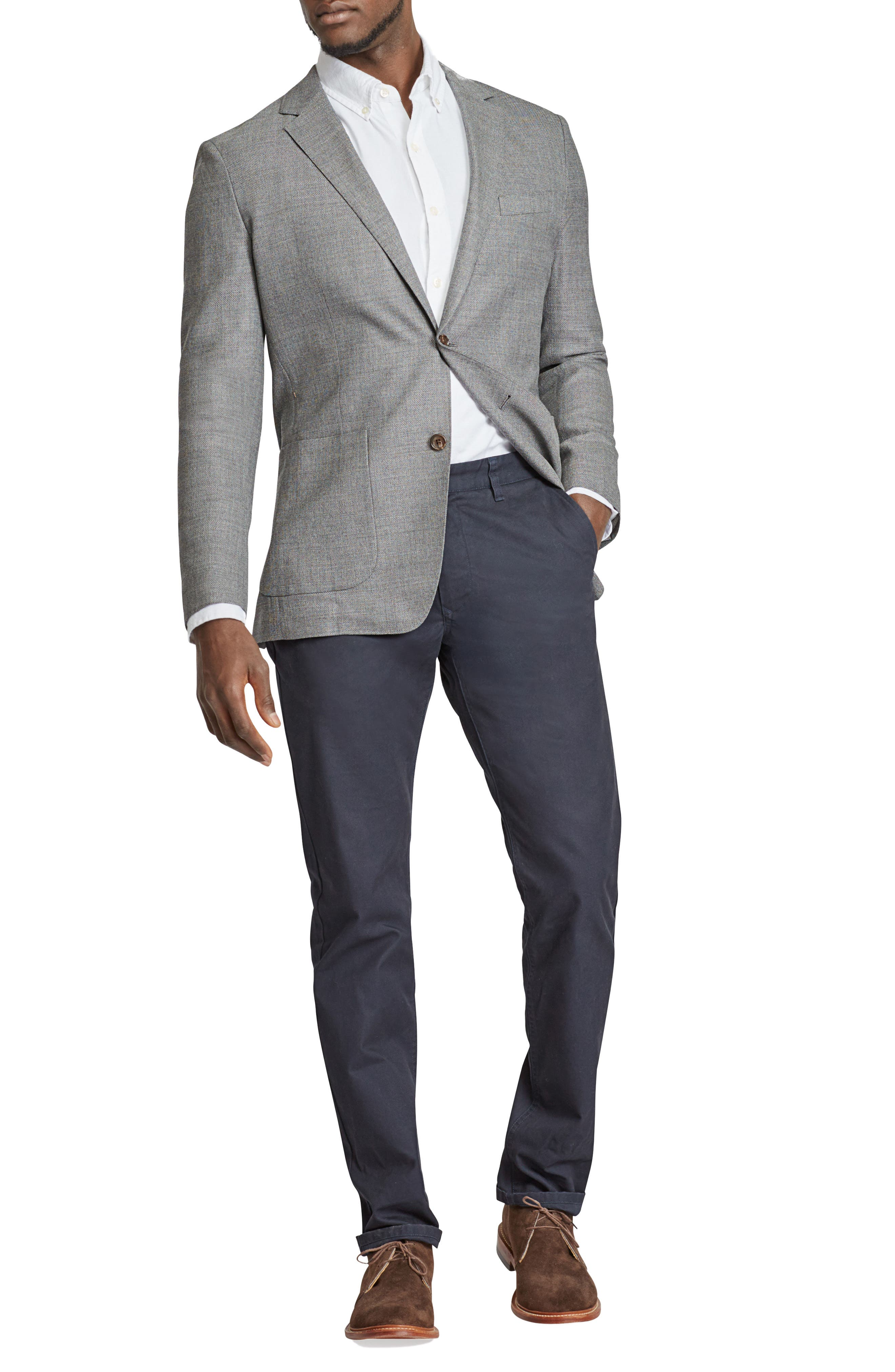 Trim Fit Wool Blazer,                             Main thumbnail 1, color,                             MID GREY