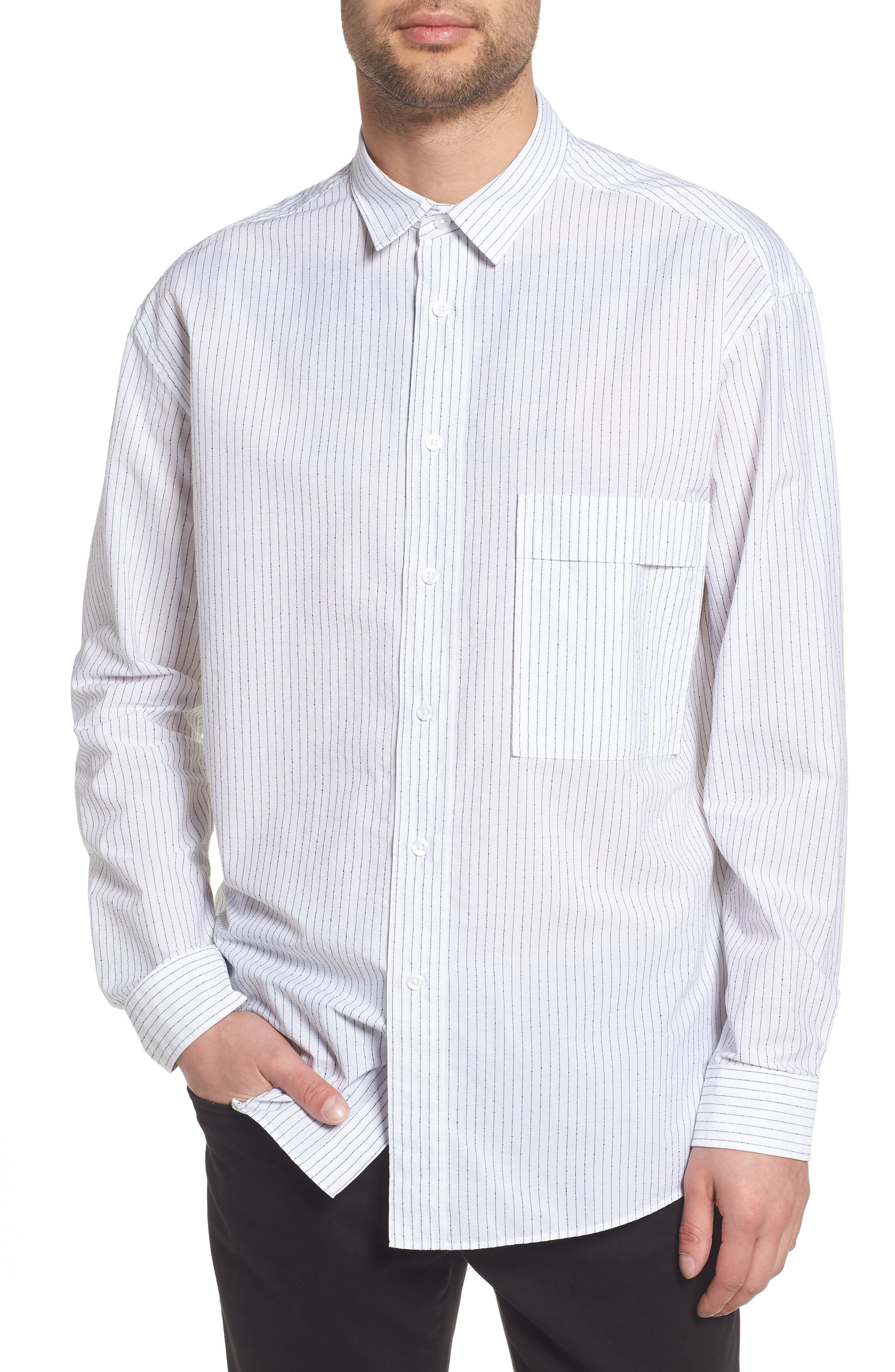 Ery Stripe Classic Fit Sport Shirt,                         Main,                         color, WHITE
