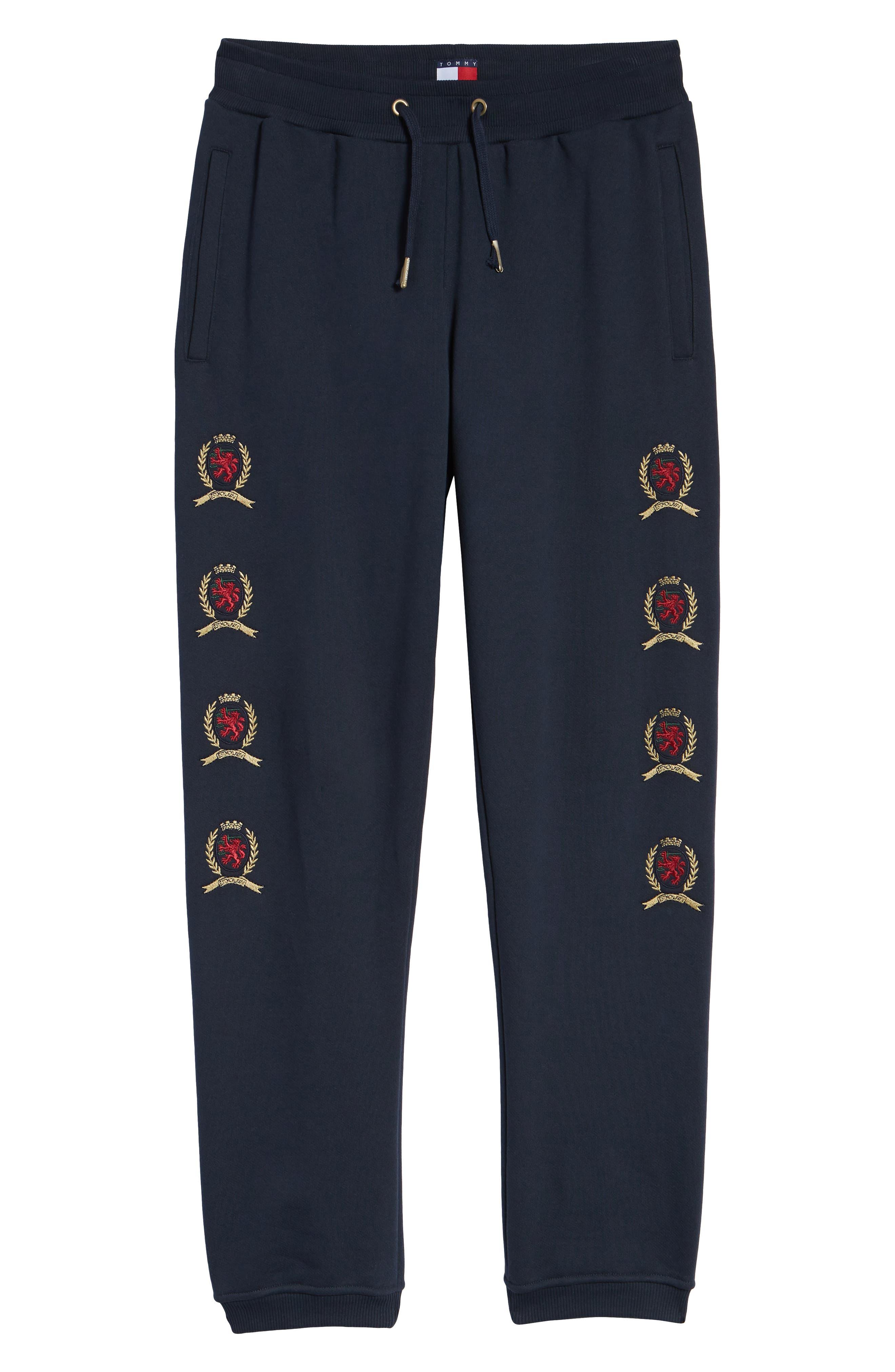 Embroidered Crest Sweatpants,                             Alternate thumbnail 6, color,                             DARK SAPPHIRE