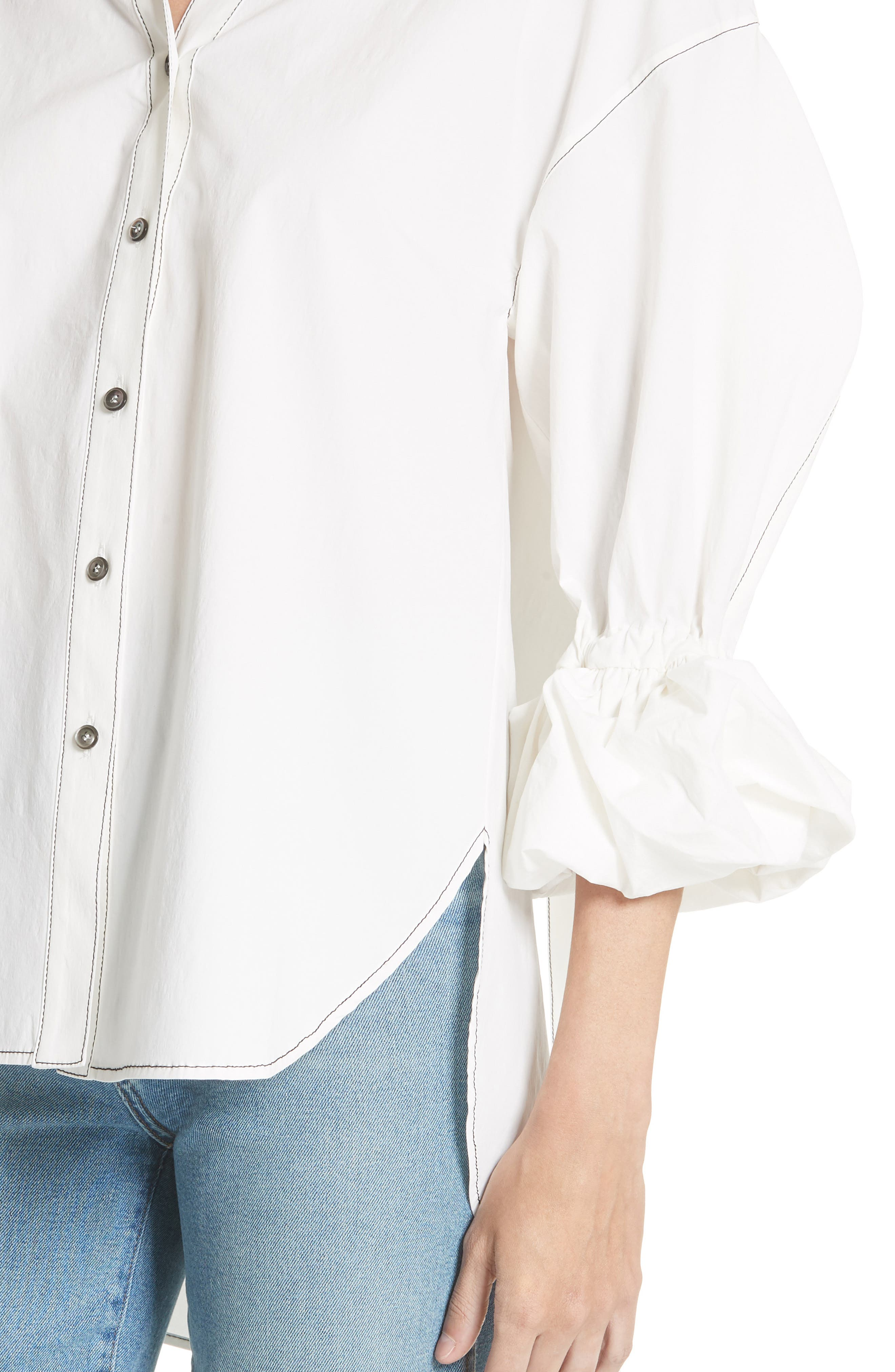 Amber Ruffle Sleeve Shirt,                             Alternate thumbnail 4, color,                             100