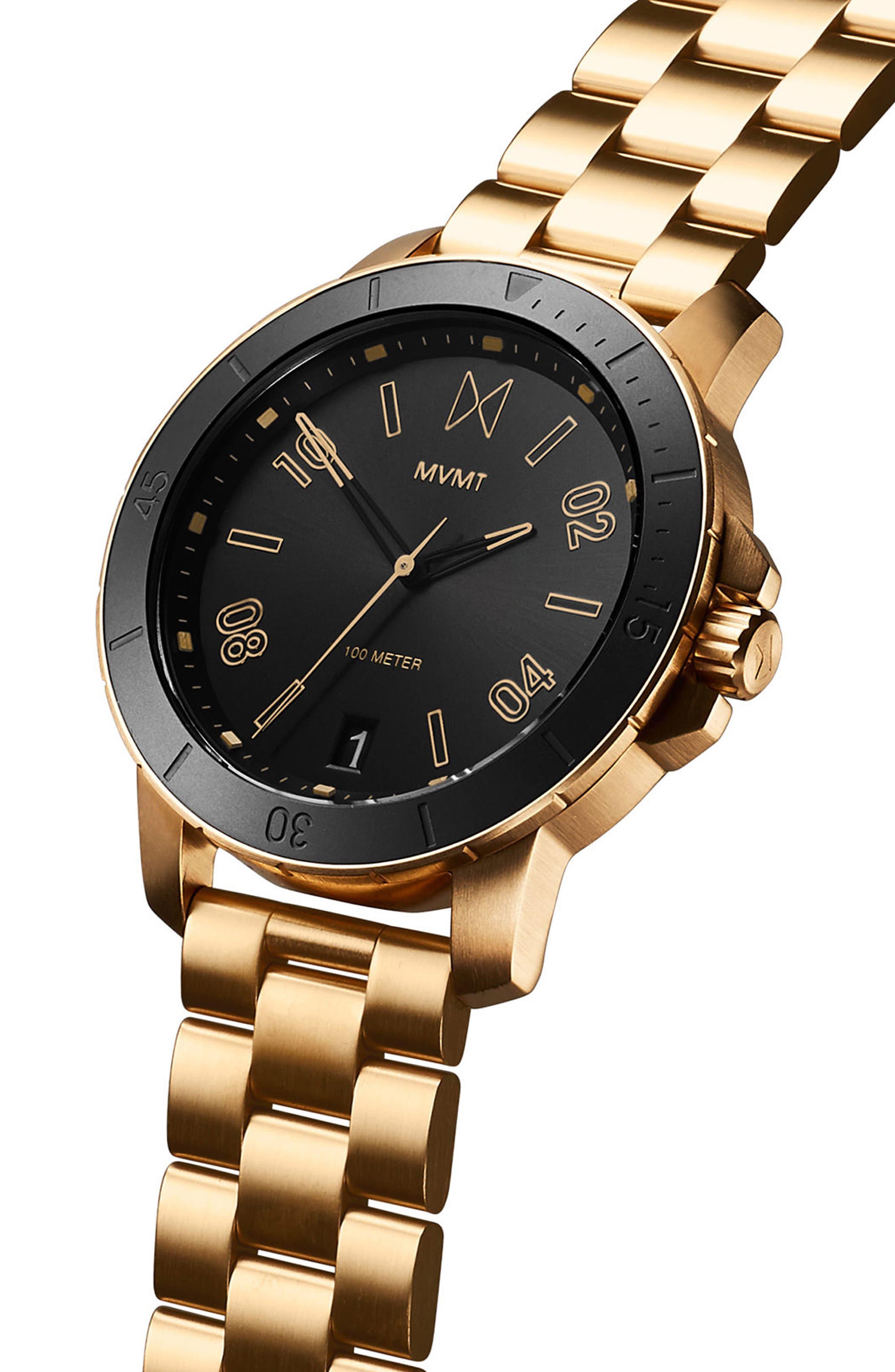 Modern Sport Bracelet Watch, 42mm,                             Alternate thumbnail 3, color,                             BLACK/ GOLD