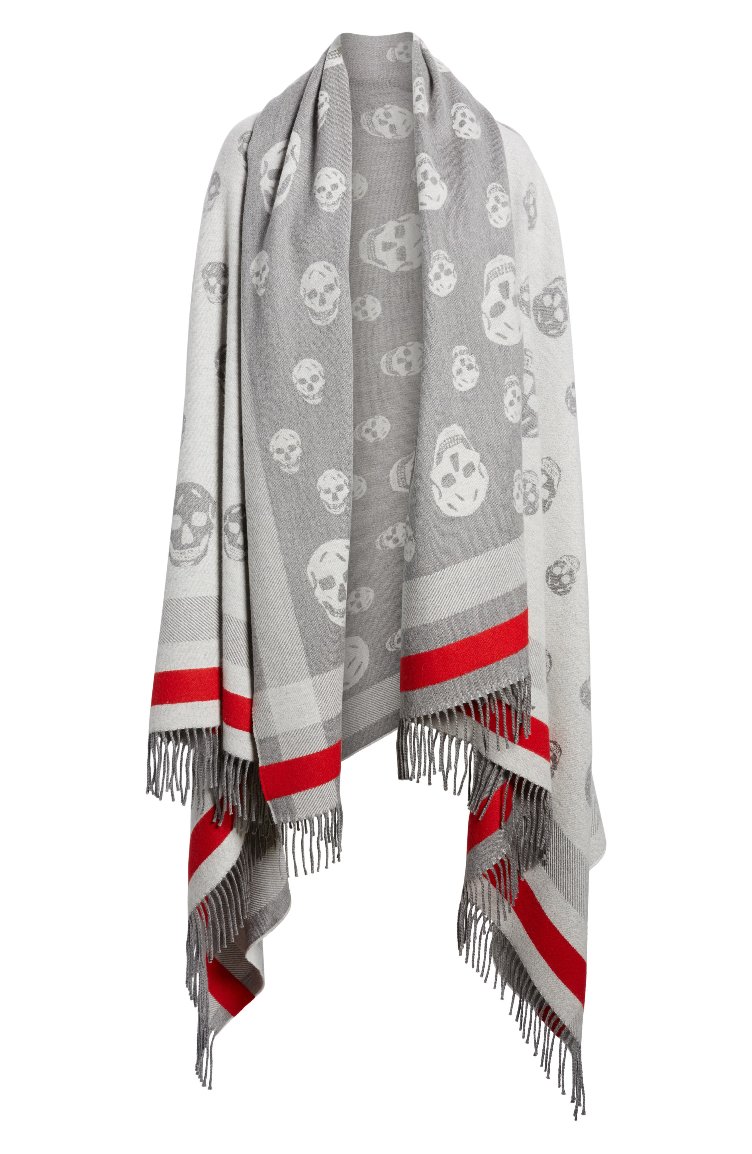 Skull Wool & Cashmere Scarf,                             Alternate thumbnail 6, color,                             020