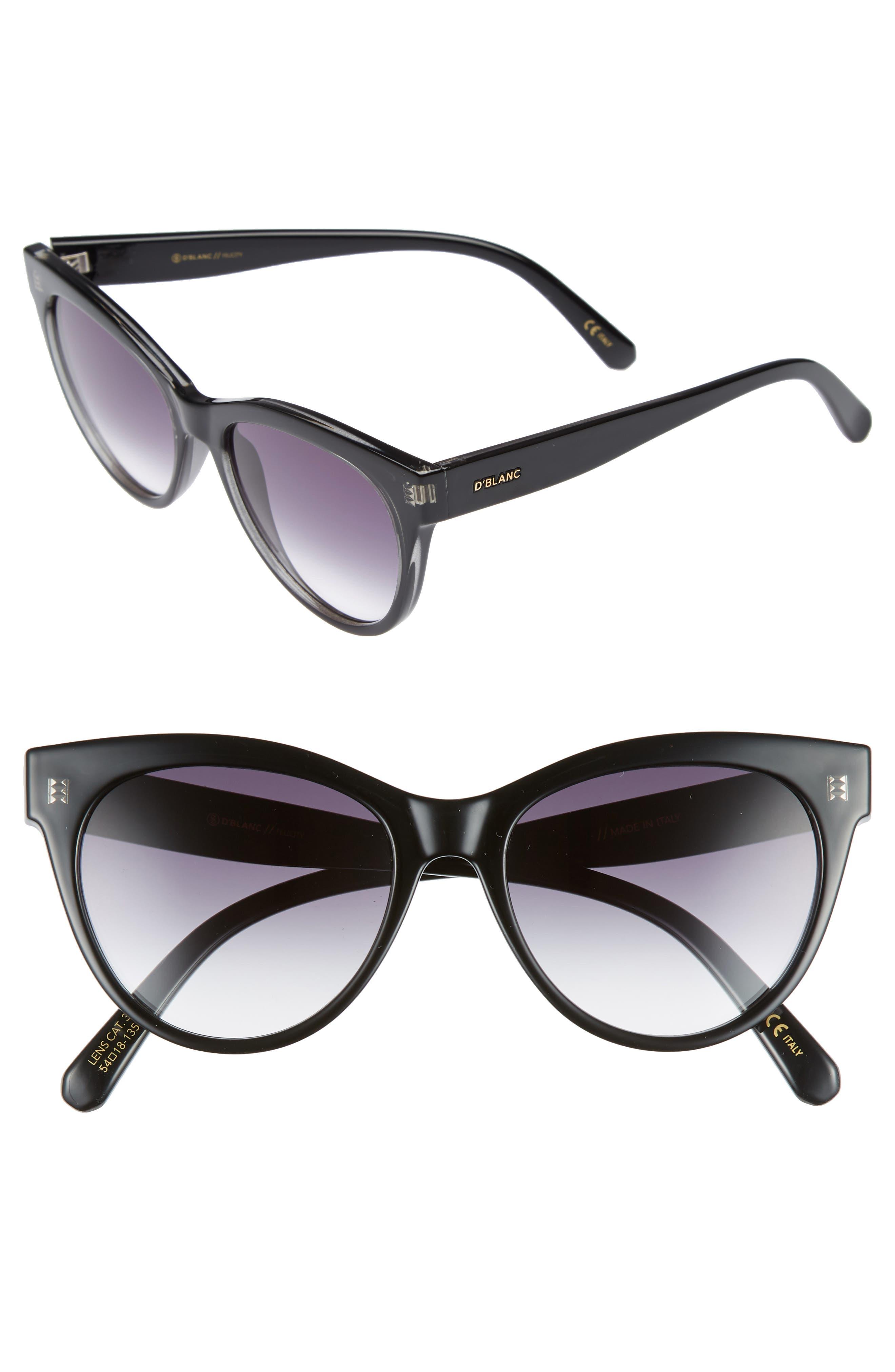 D'BLANC Felicity 54mm Cat Eye Sunglasses,                             Main thumbnail 1, color,                             001