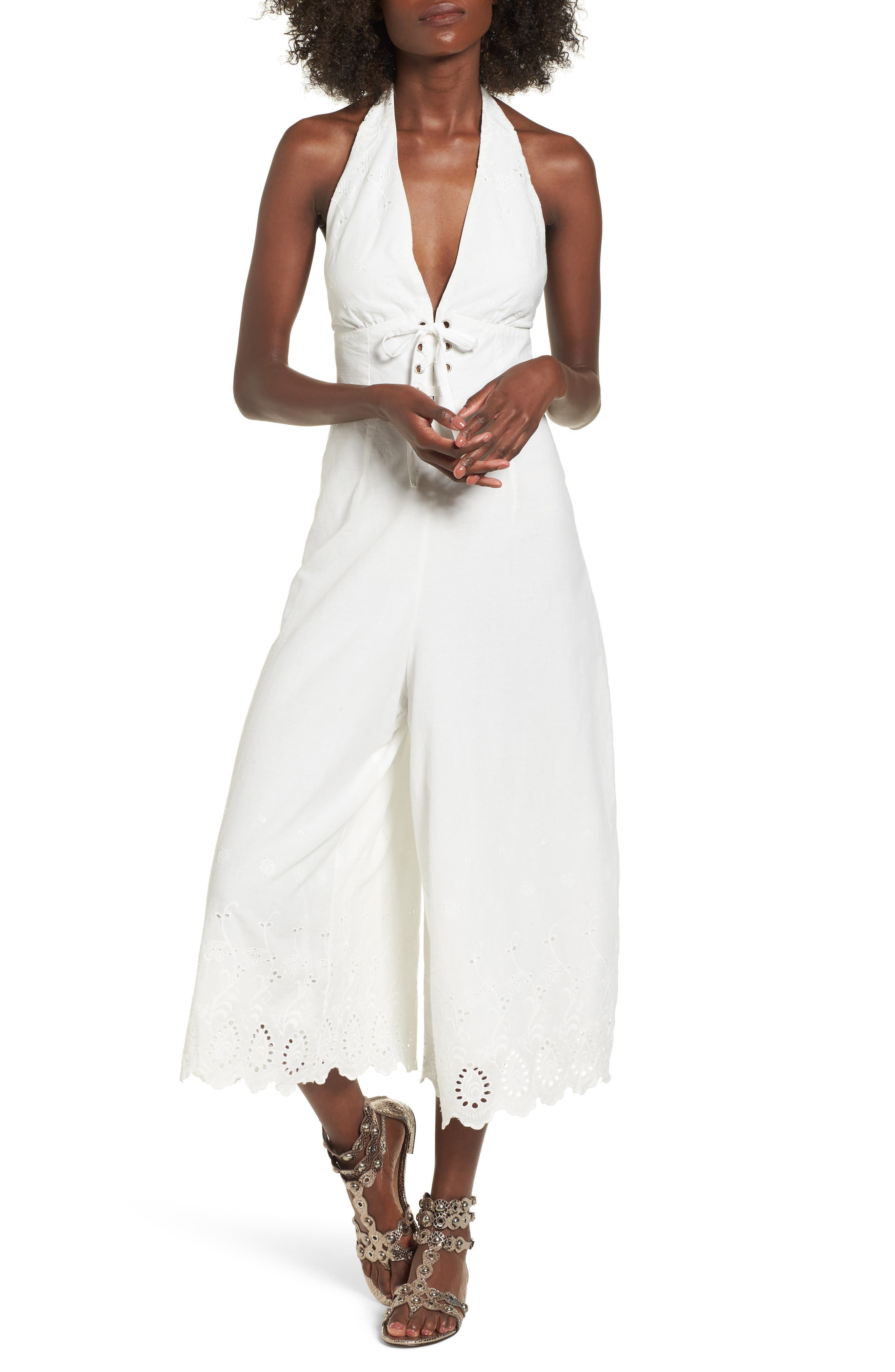 Stars in Her Eyes Eyelet Halter Jumpsuit,                             Main thumbnail 1, color,                             WHITE