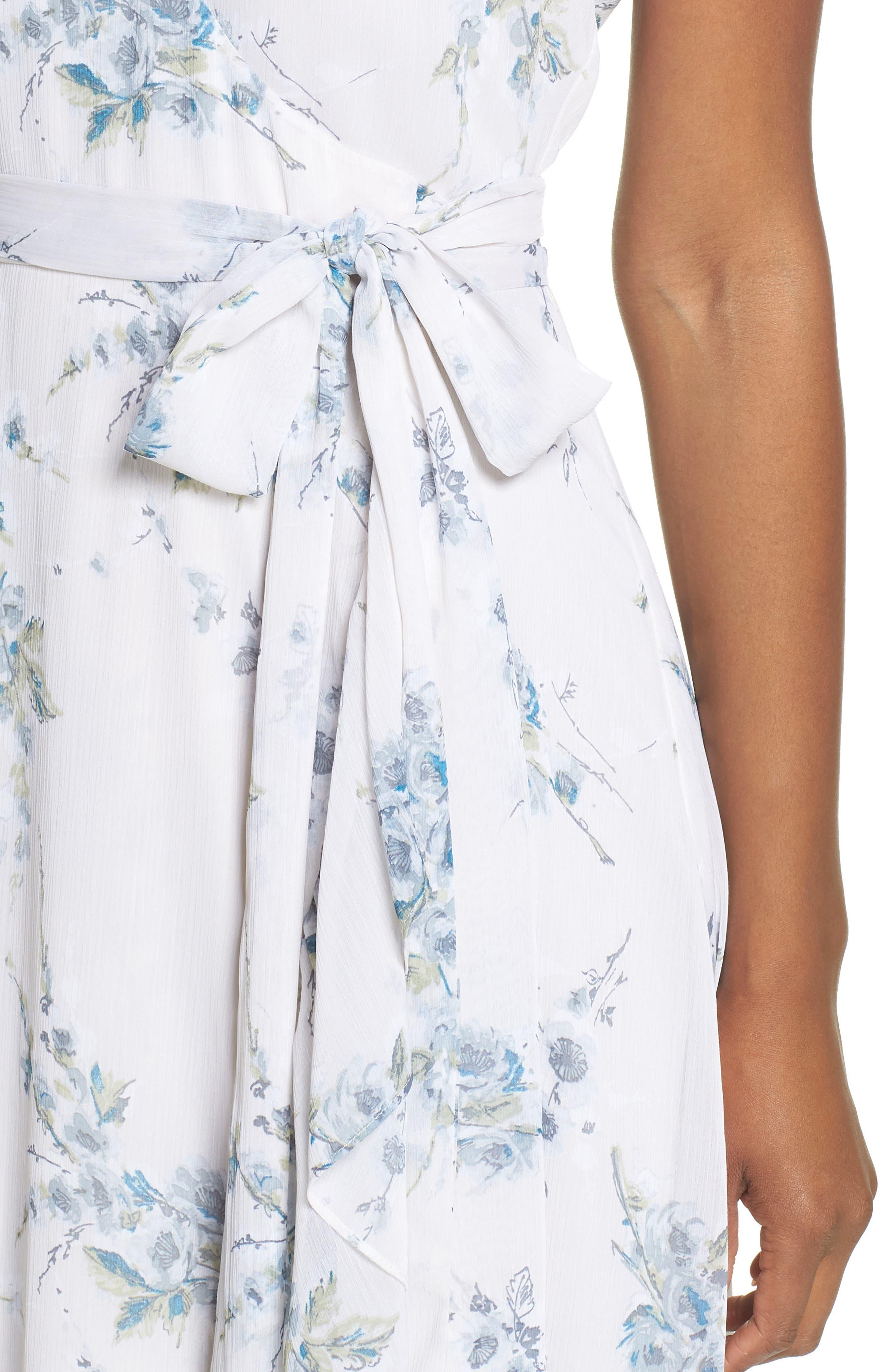 The Natasha Floral Wrap Maxi Dress,                             Alternate thumbnail 4, color,                             BLUE GARDEN FLORAL