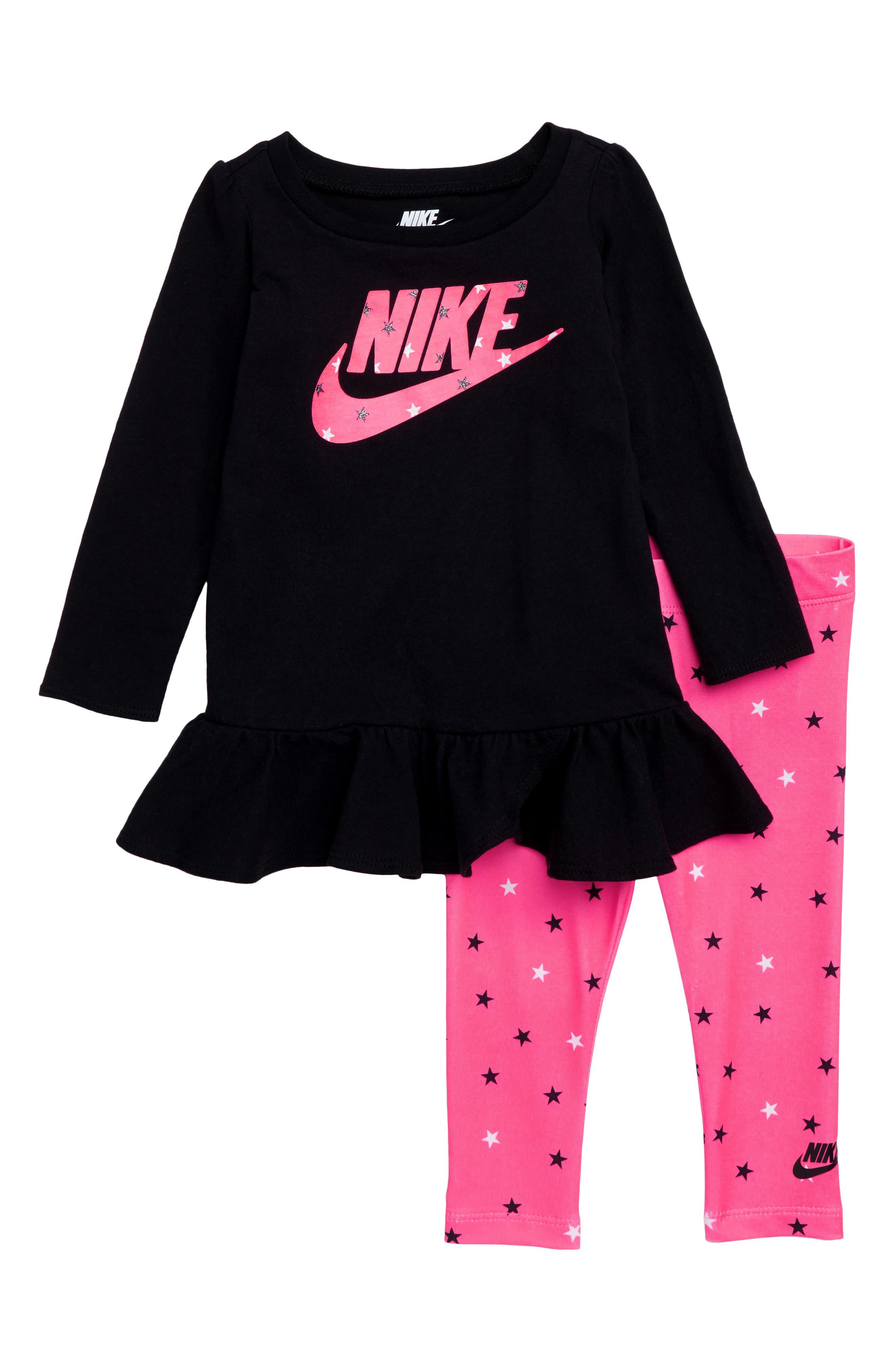 Infant Girls Nike Logo Graphic Peplum Tunic  Print Leggings Set