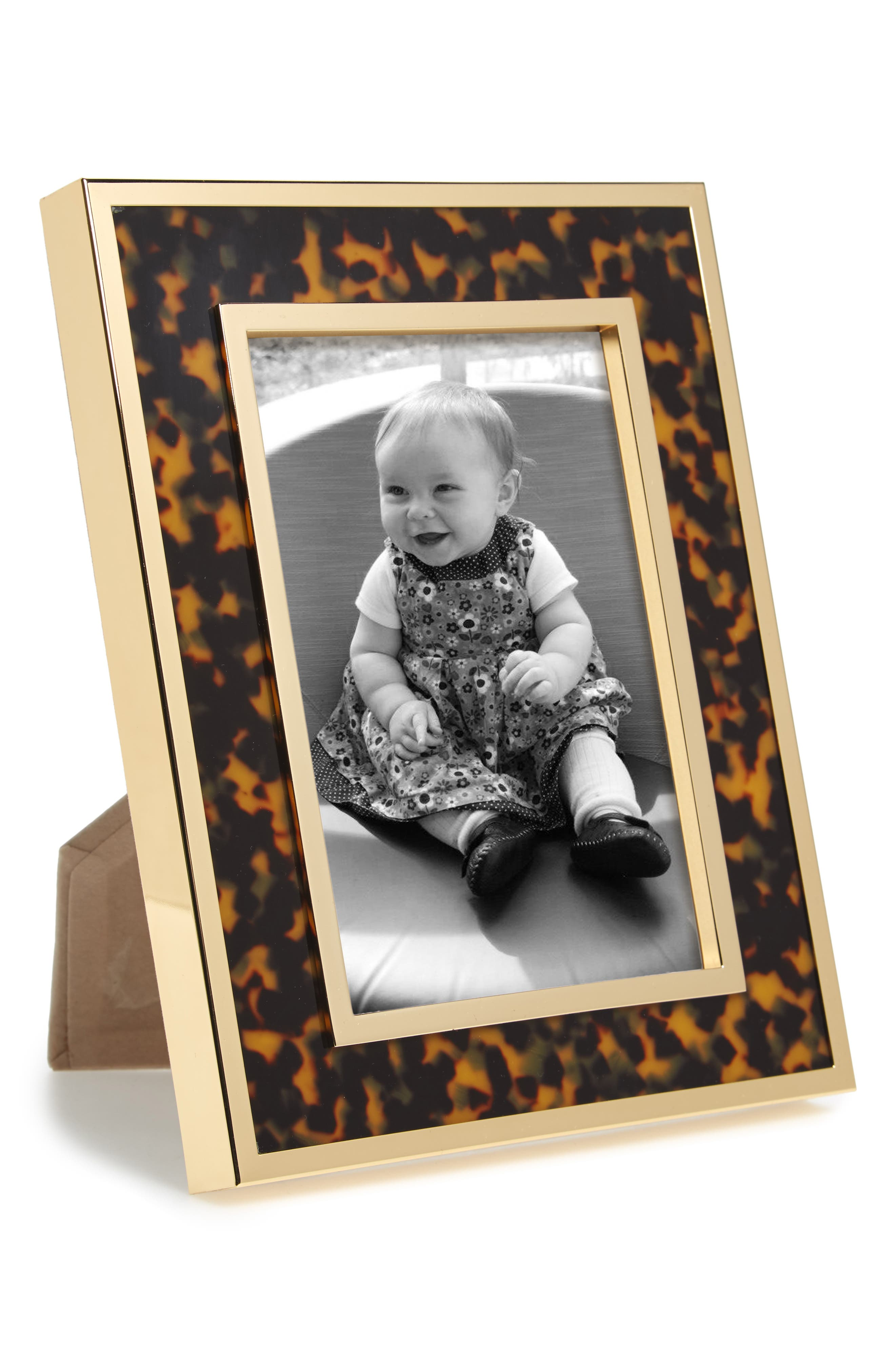 Tortoise Print Picture Frame,                         Main,                         color, METALLIC GOLD