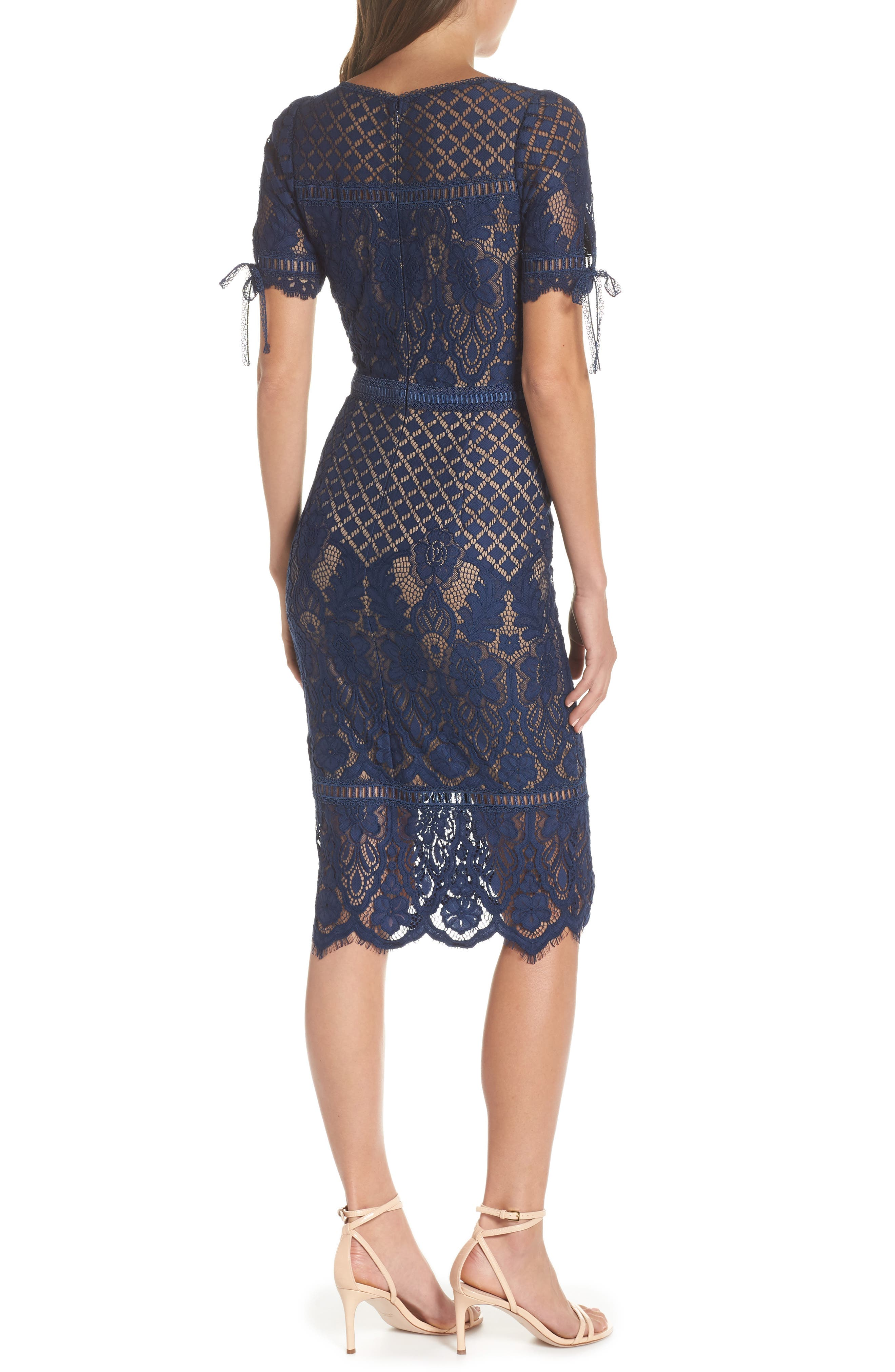 Tie Sleeve Lace Sheath Dress,                             Alternate thumbnail 2, color,                             MIDNIGHT/ NUDE