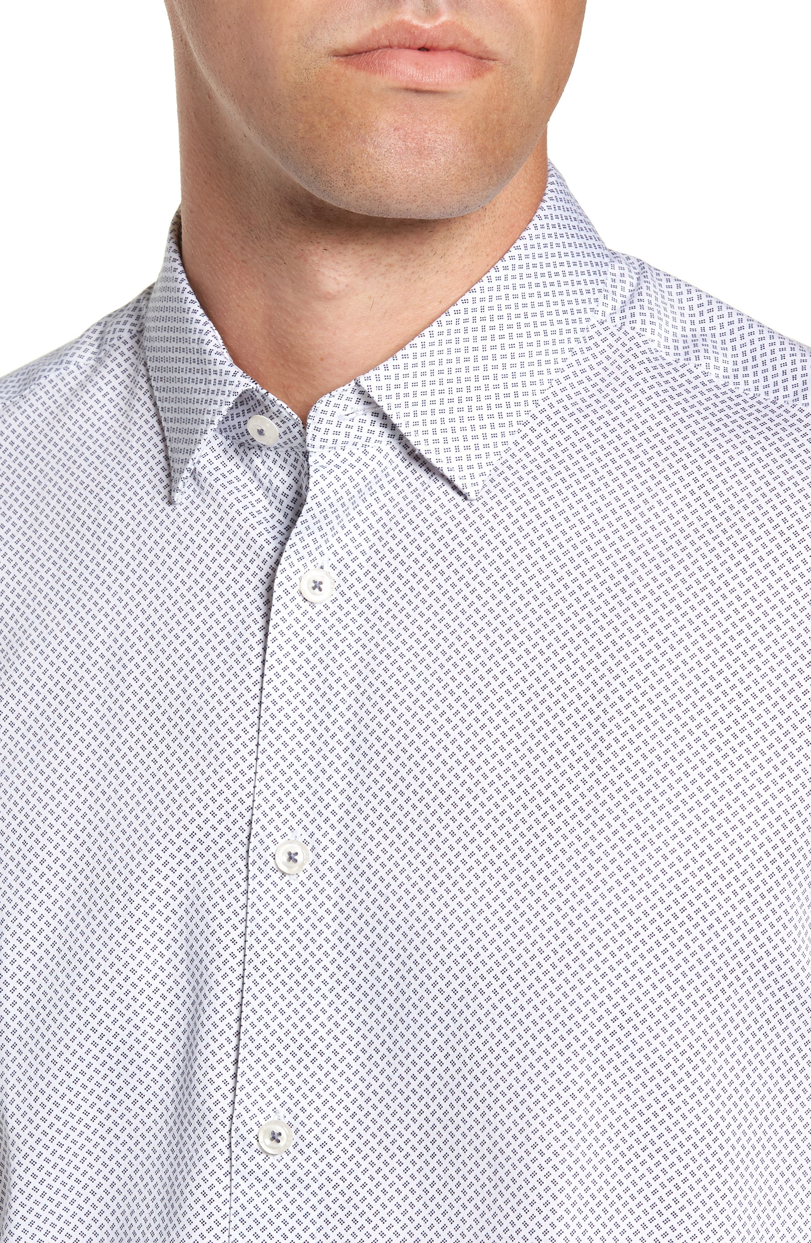 Aspara Modern Fit Geometric Dress Shirt,                             Alternate thumbnail 2, color,                             WHITE/ NAVY
