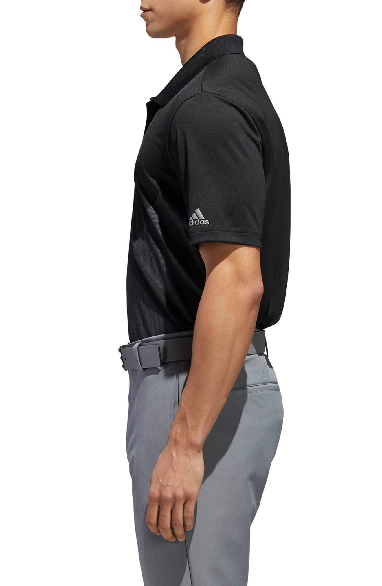 adidas 3-Stripes Regular Fit Golf Polo,                             Alternate thumbnail 3, color,                             BLACK/ GREY