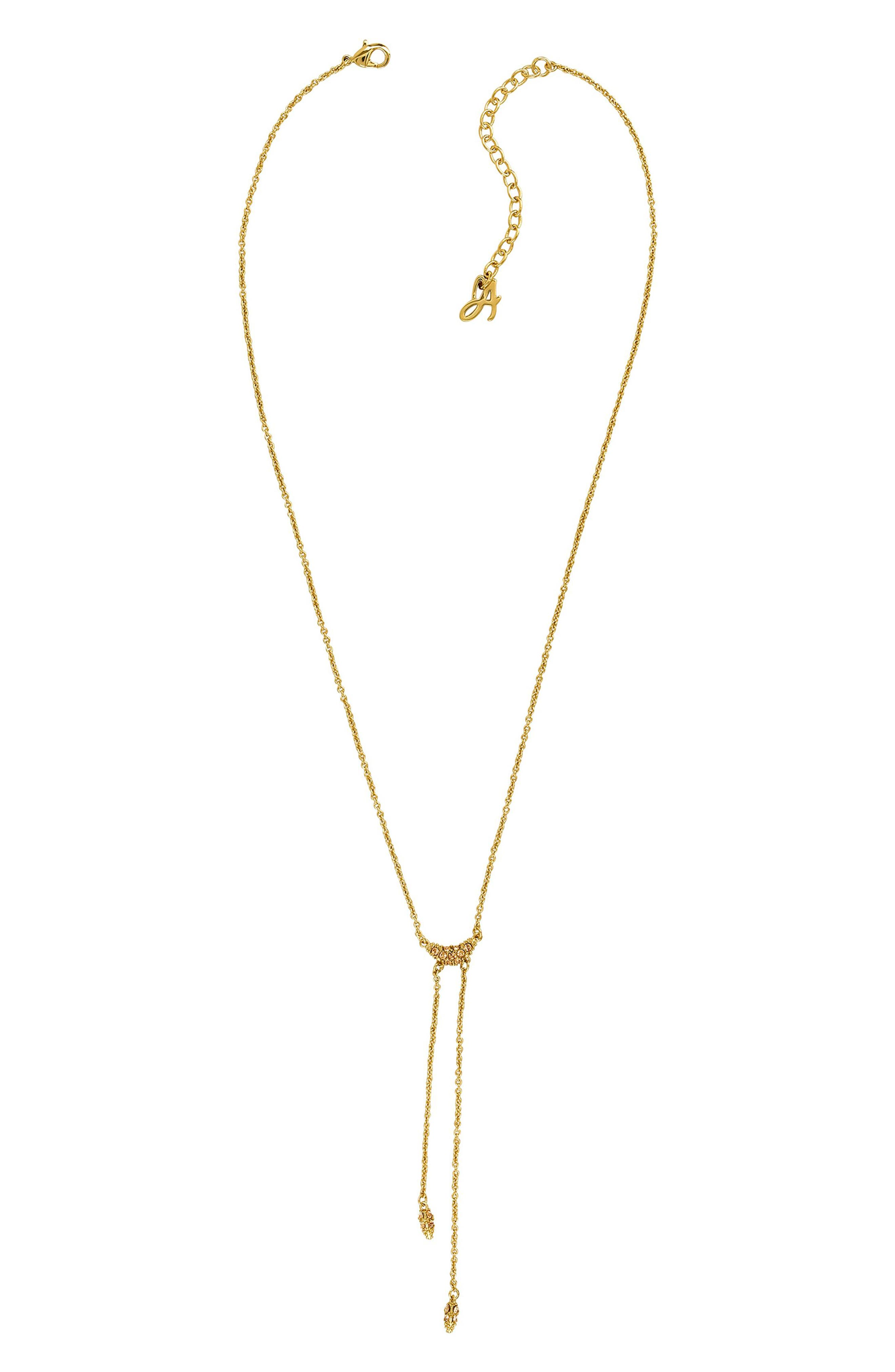 ADORÉE Pave Crystal Swoop Necklace in Gold