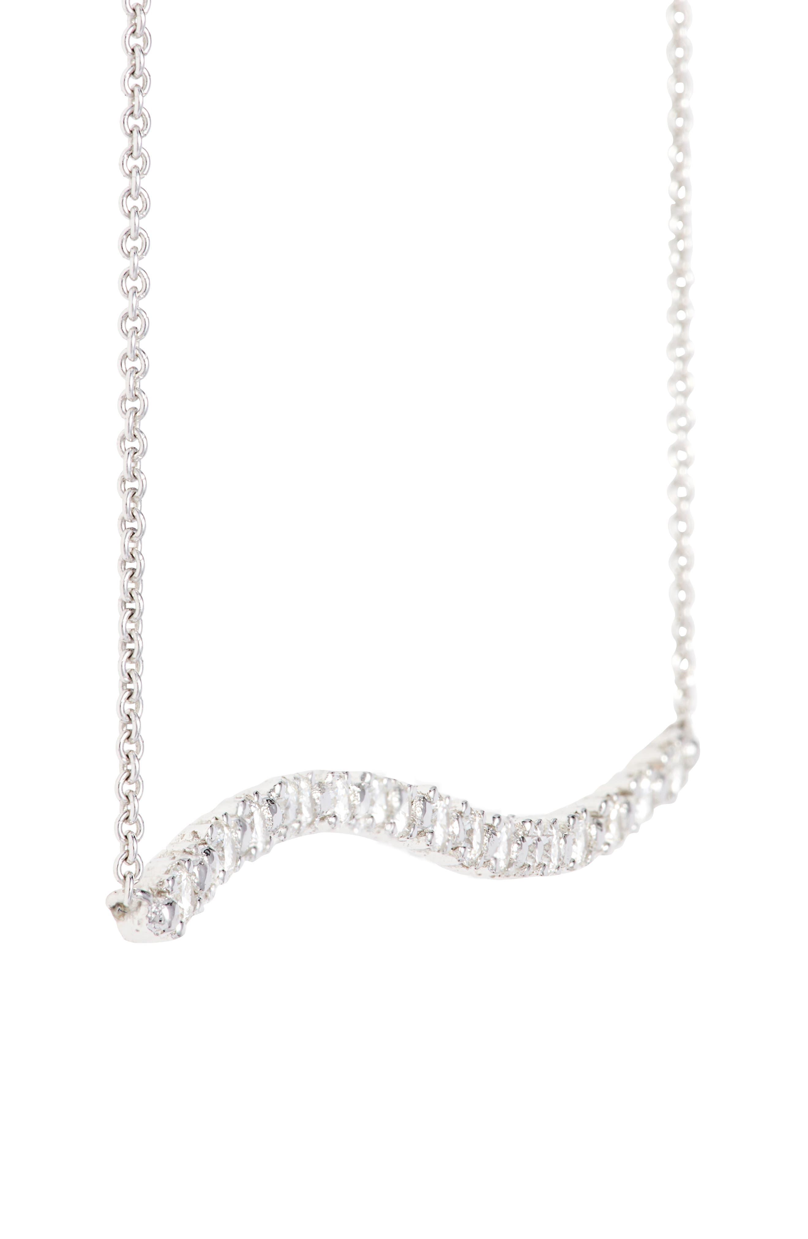 Wavy Bar Diamond Pendant Necklace,                             Alternate thumbnail 4, color,                             711