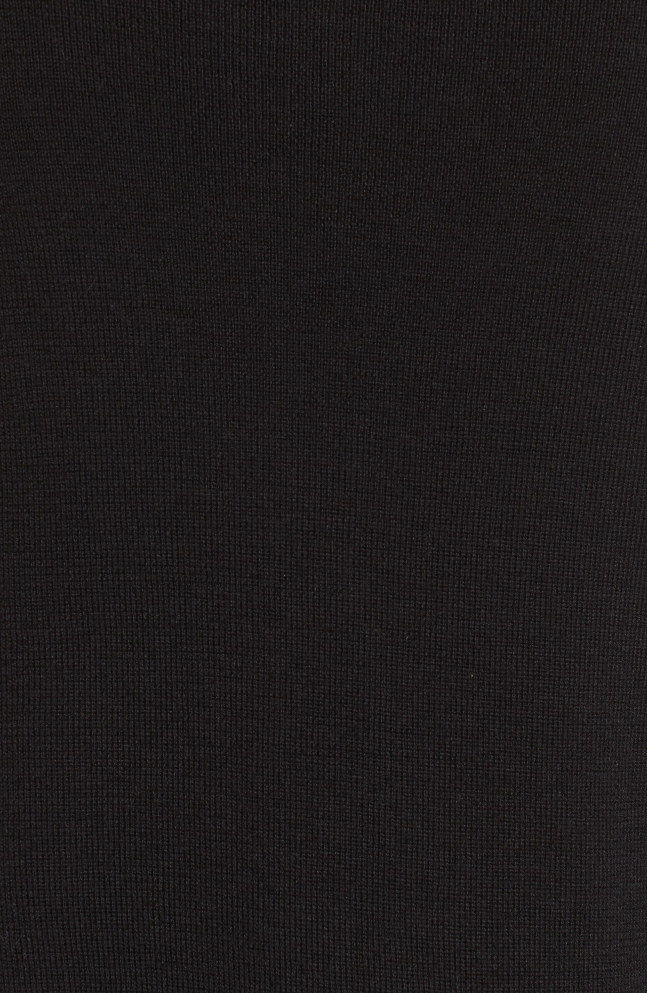 Ruffle Crewneck Sweater,                             Alternate thumbnail 5, color,                             001