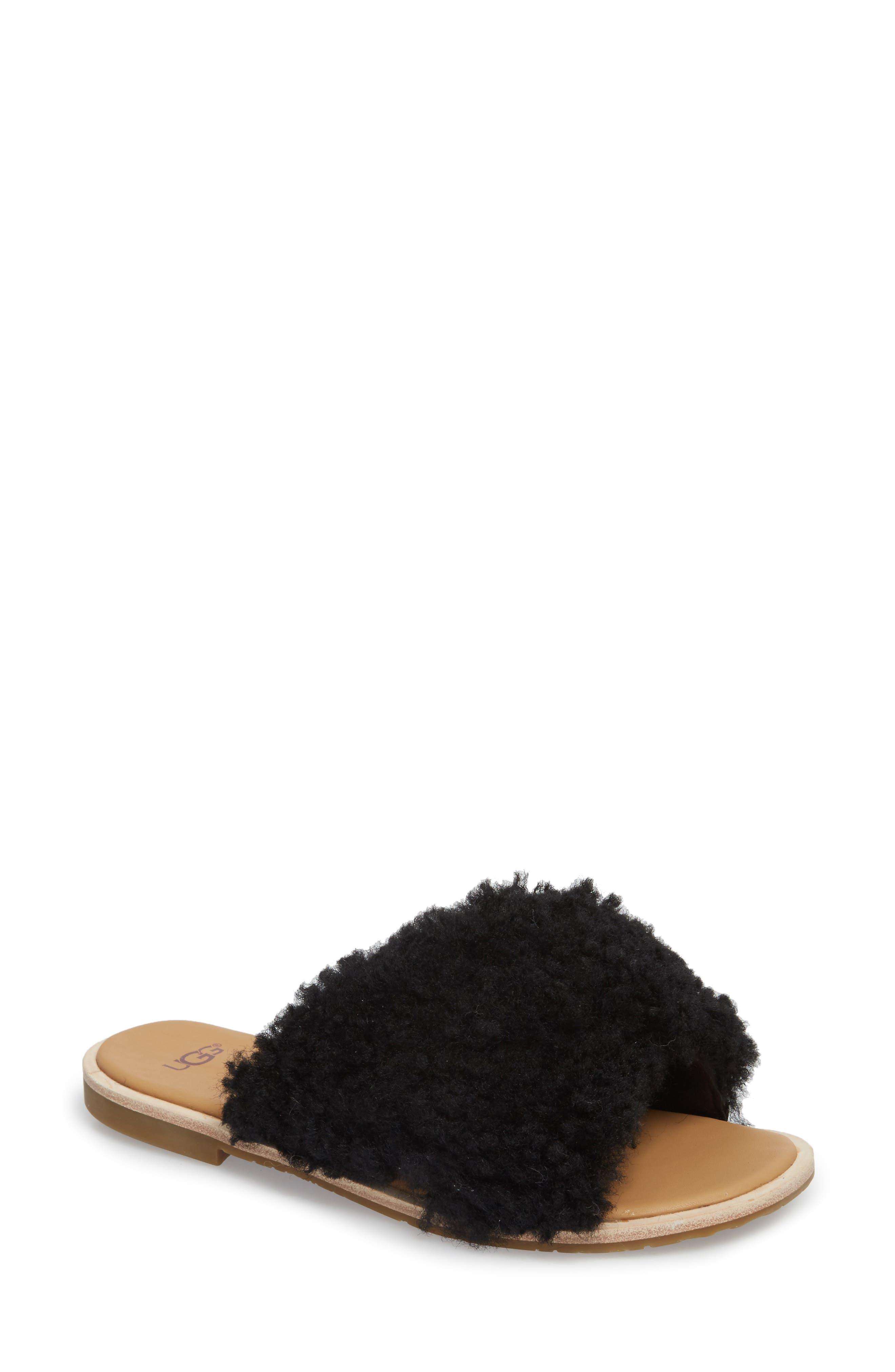 Joni Genuine Shearling Slide Sandal,                             Main thumbnail 1, color,                             BLACK