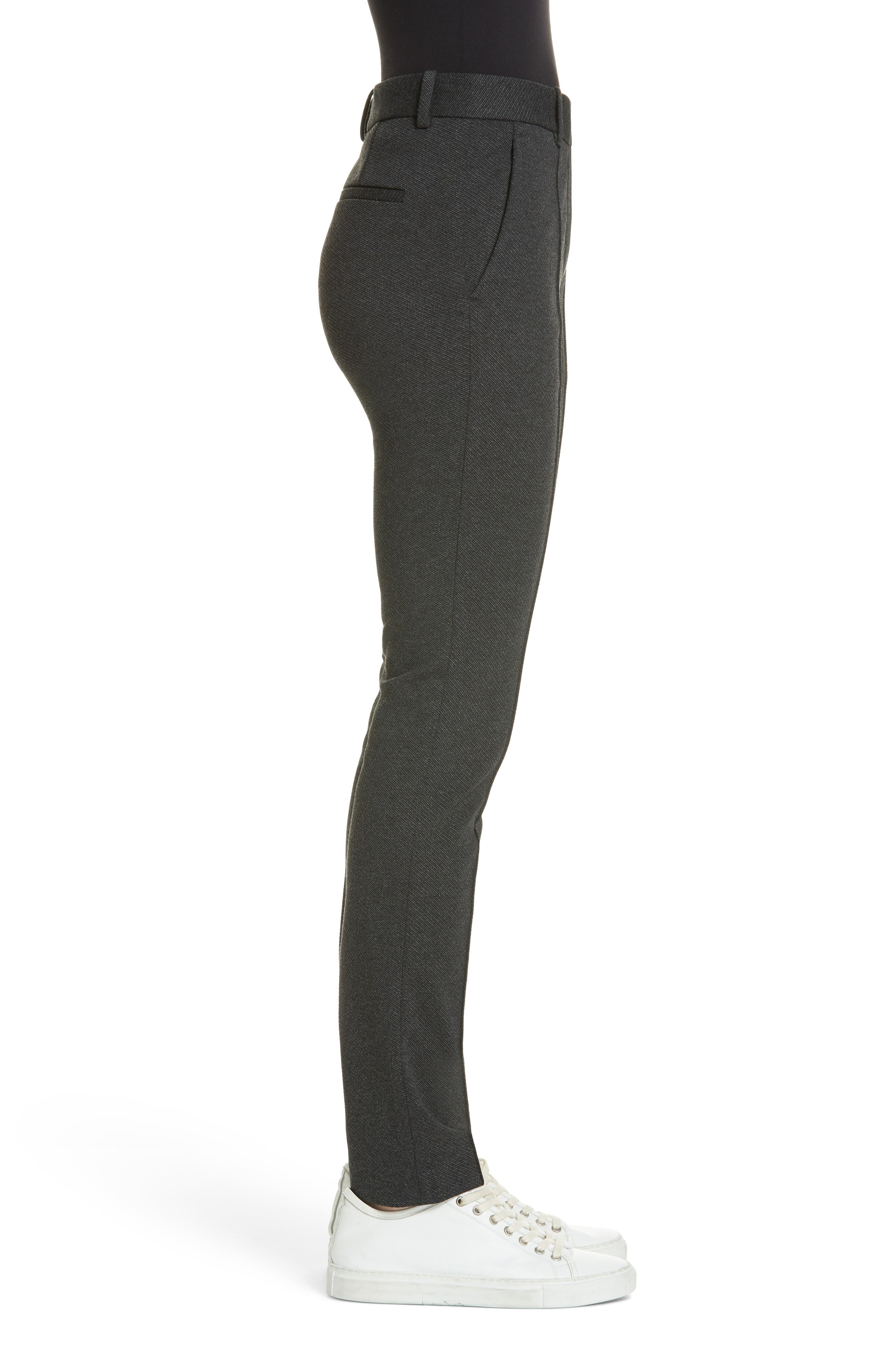 Seamed Front Stretch Twill Pants,                             Alternate thumbnail 3, color,                             BLACK