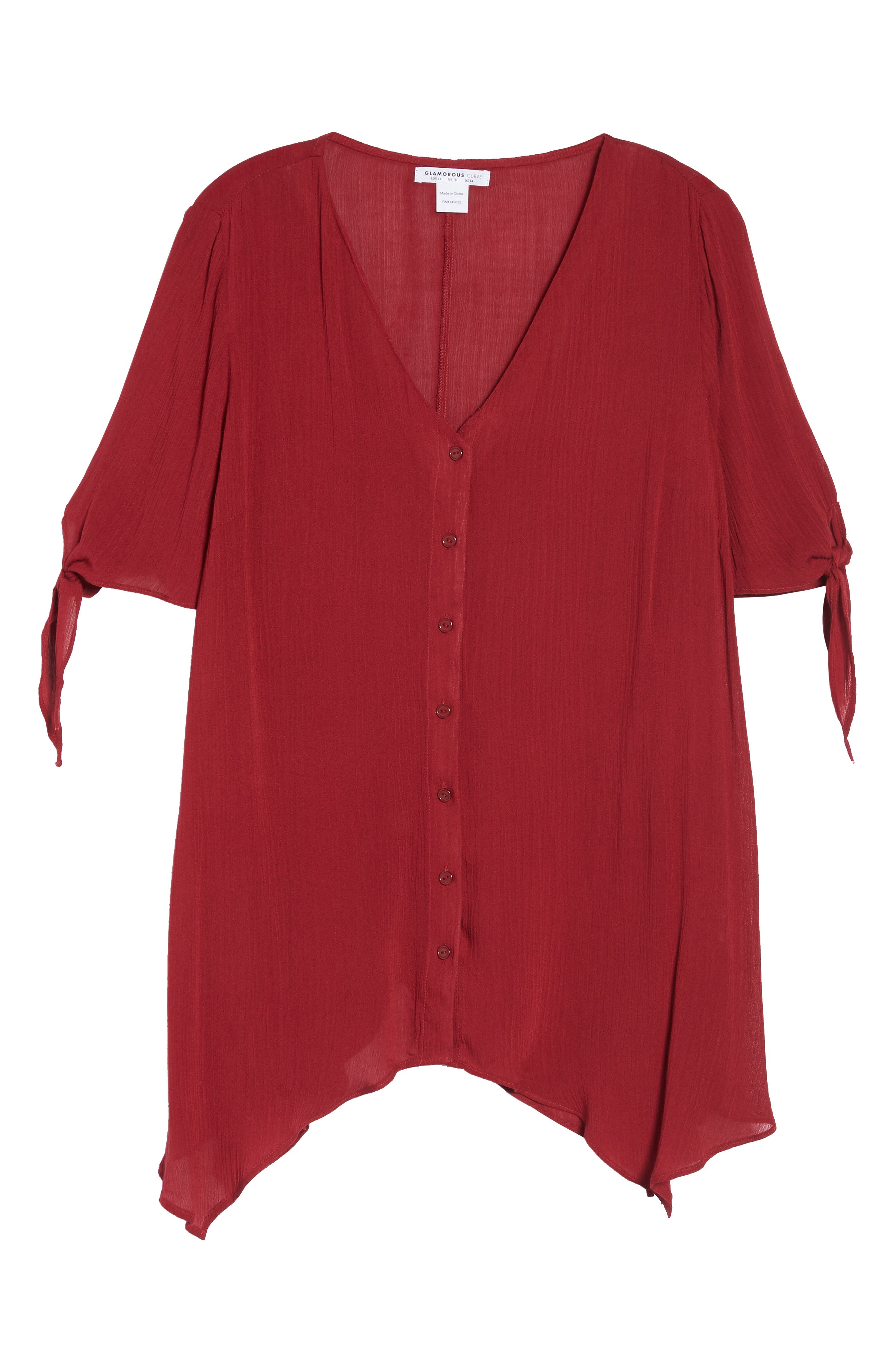 Tie Sleeve Button Front Tunic Top,                             Alternate thumbnail 6, color,                             MAROON