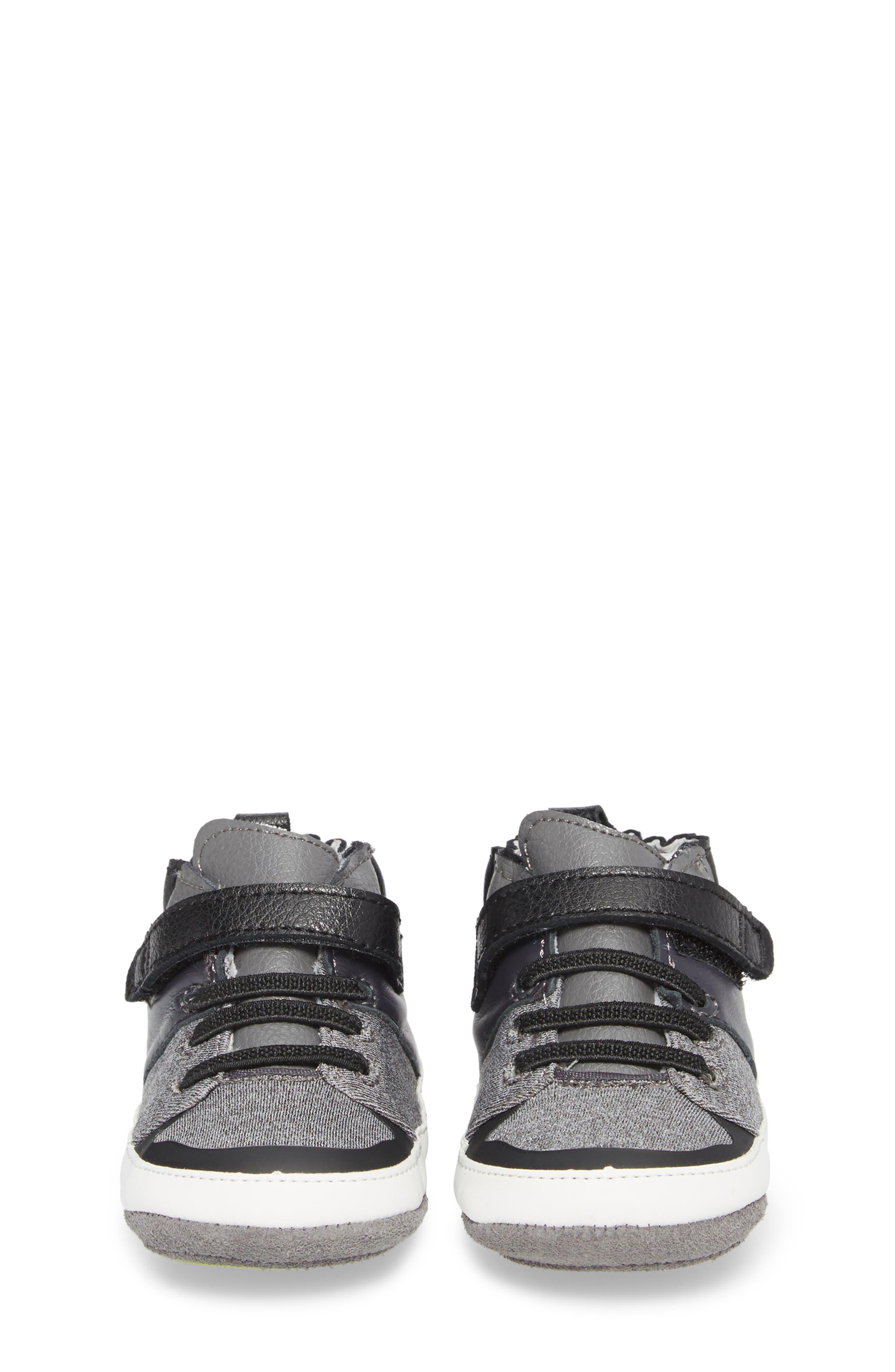 Zachary High Top Crib Sneaker,                             Alternate thumbnail 4, color,                             BLACK