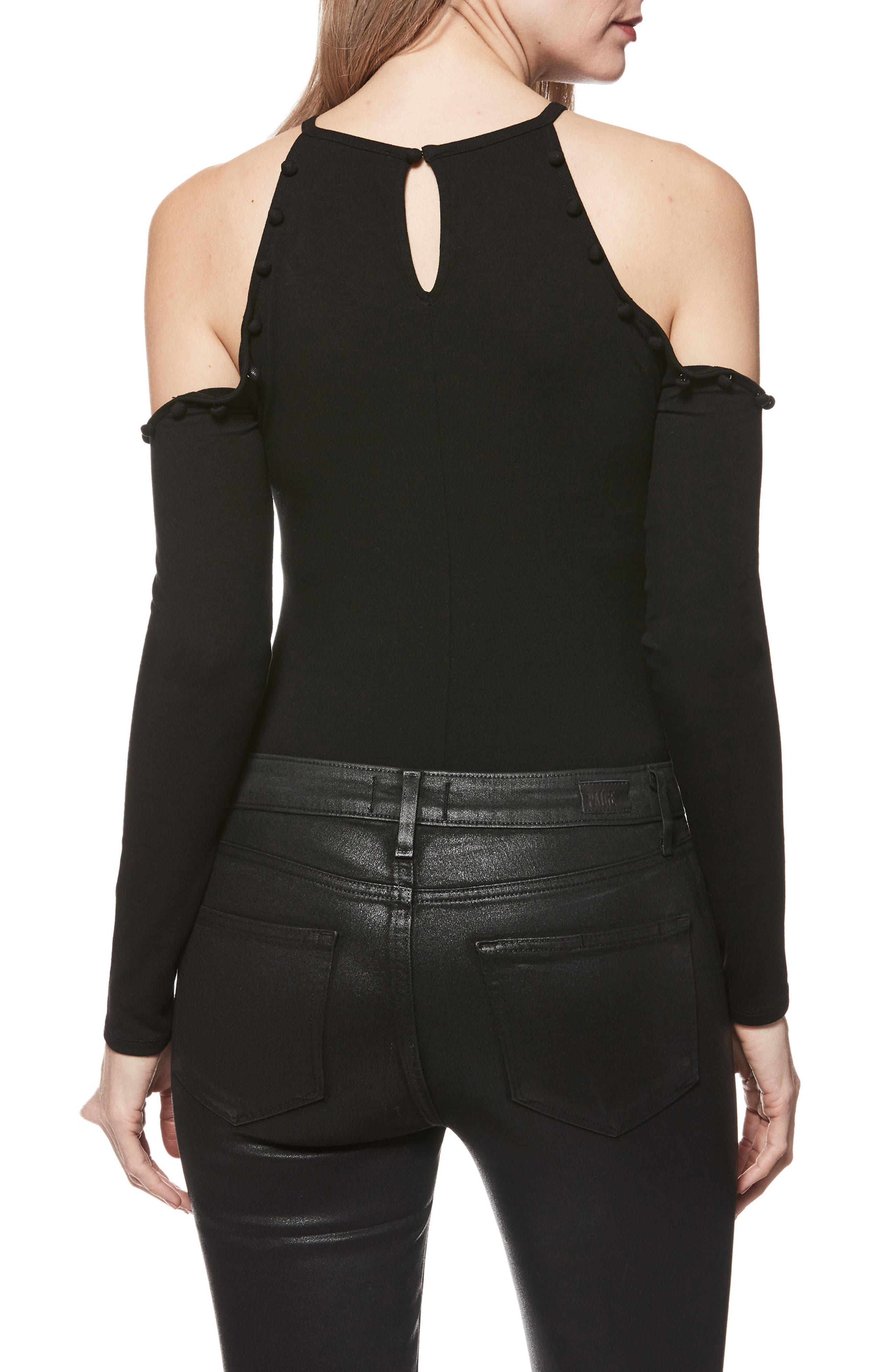 Siana Cold-Shoulder Bodysuit,                             Alternate thumbnail 2, color,                             001