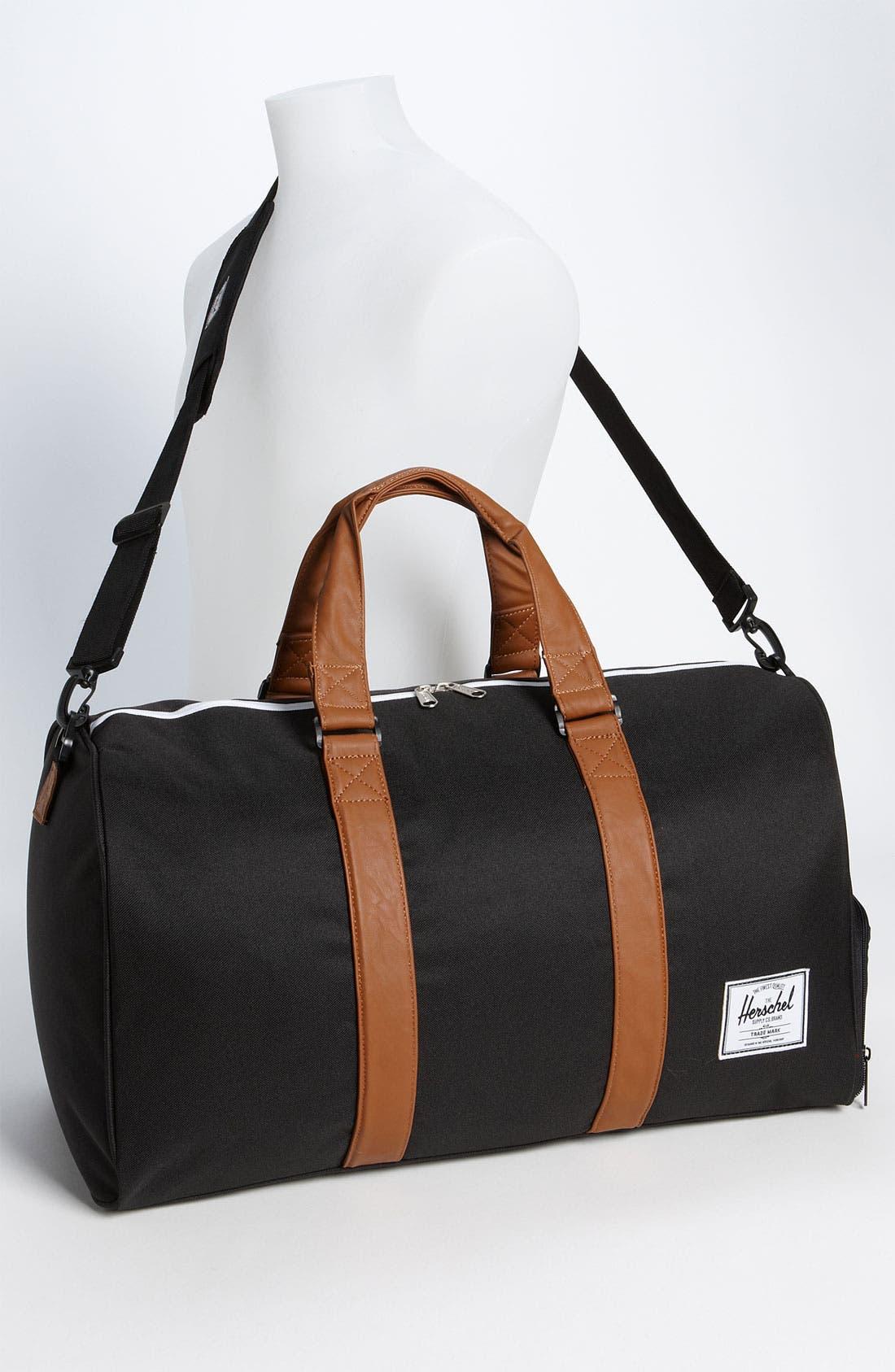 'Novel' Duffel Bag,                             Alternate thumbnail 10, color,                             BLACK/ TAN