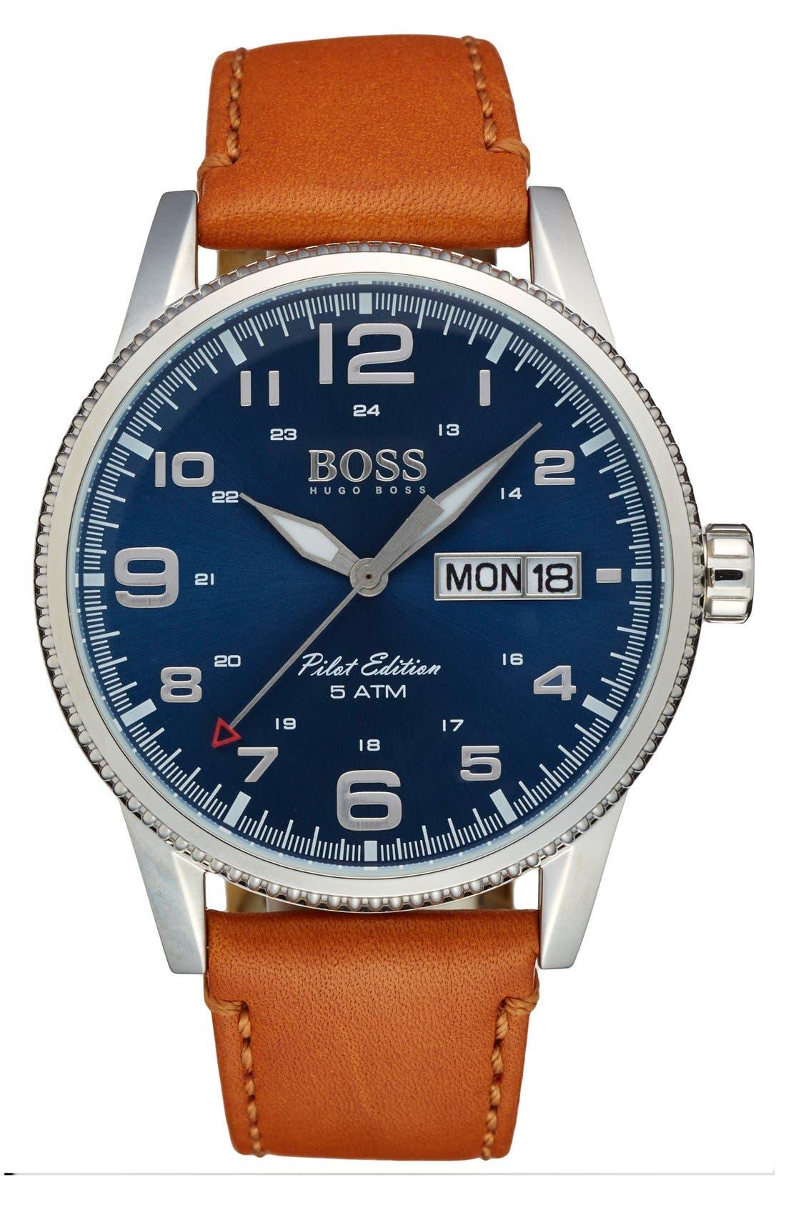 'Pilot' Watch, 44mm,                             Main thumbnail 1, color,                             BROWN/ SILVER/ BLUE