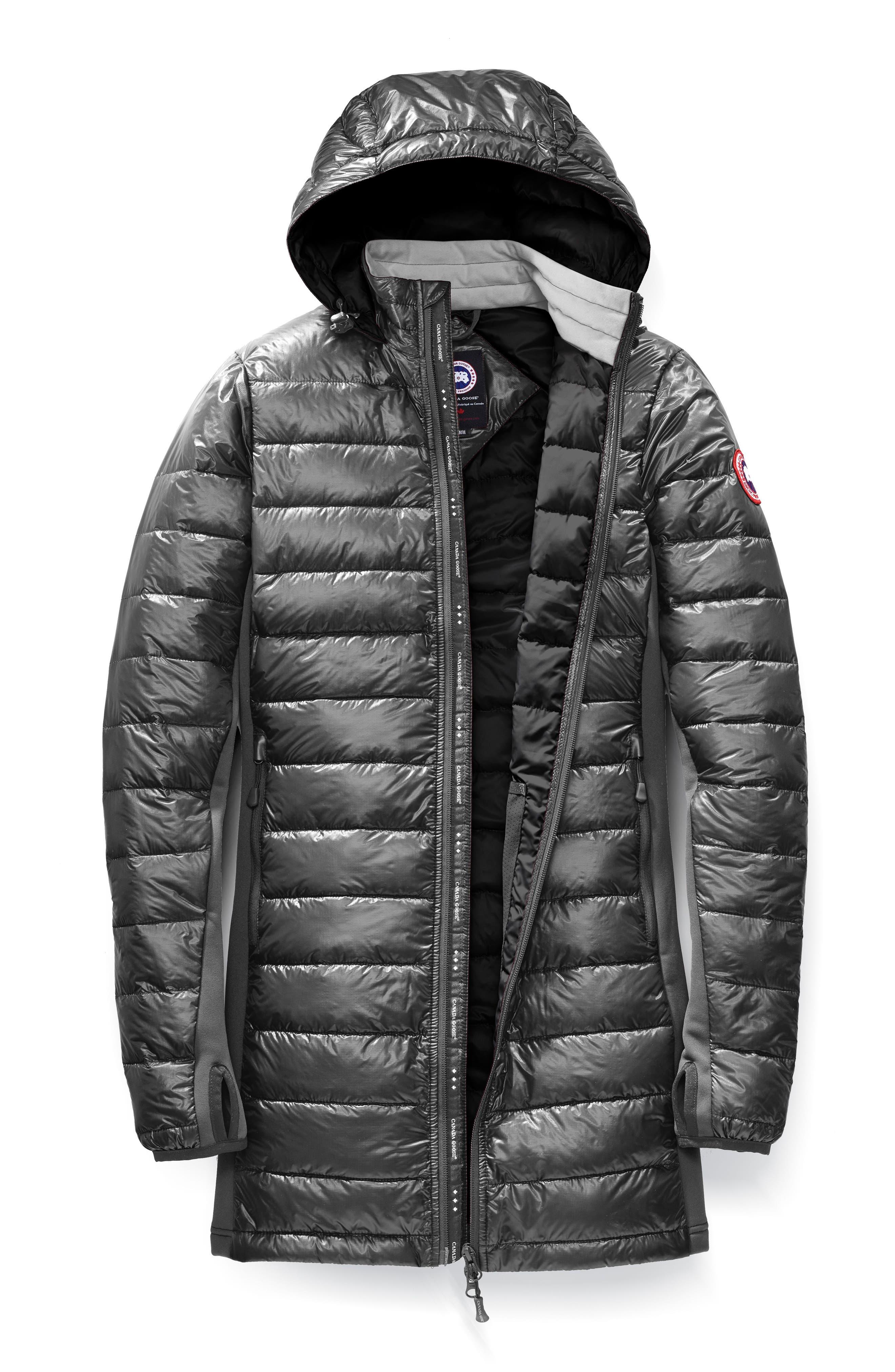 Hybridge Lite Slim Fit Hooded Packable Goose Down Coat,                             Alternate thumbnail 4, color,                             GRAPHITE/ BLACK
