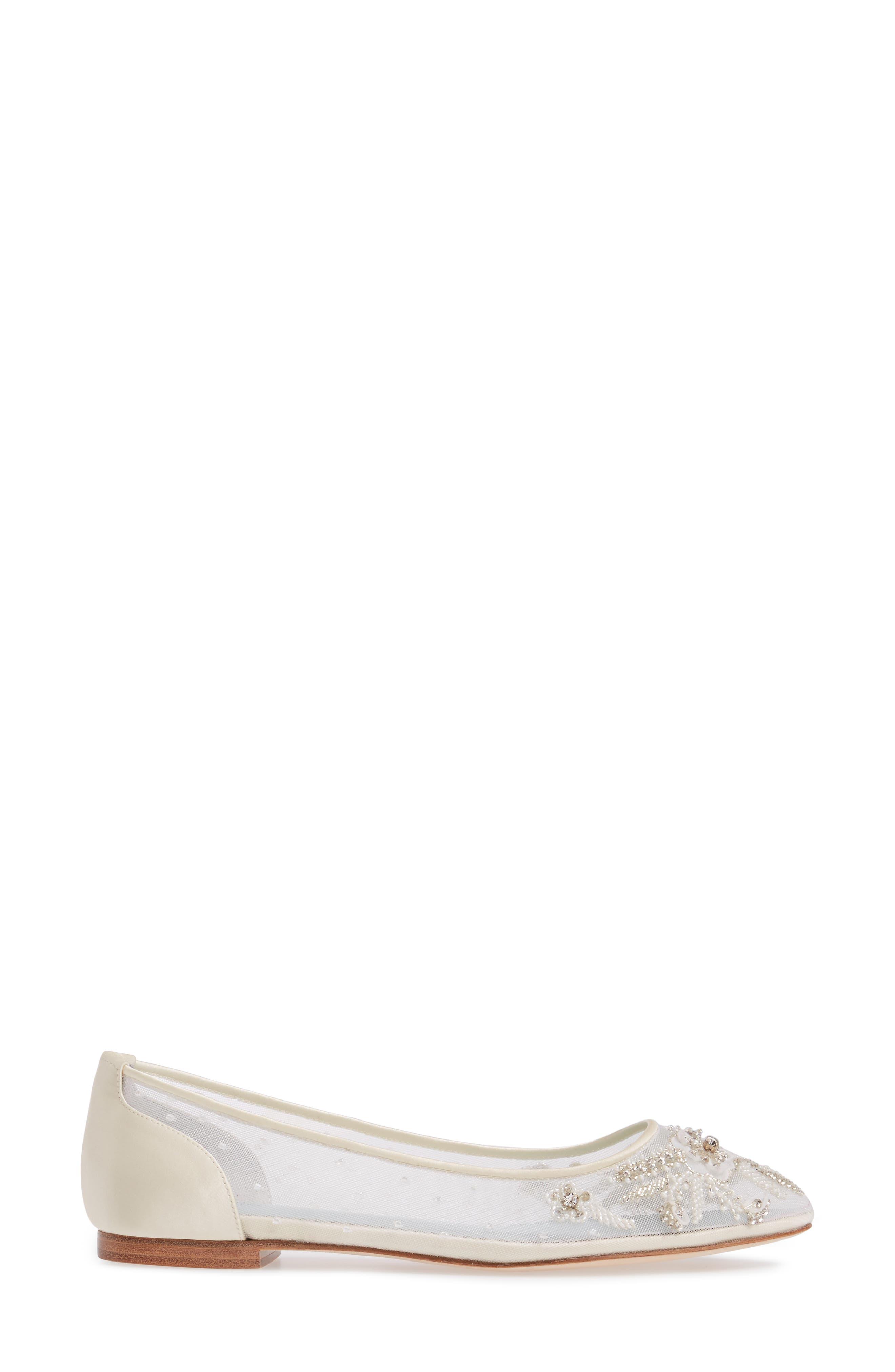 Adora Skimmer Flat,                             Alternate thumbnail 3, color,                             IVORY FABRIC