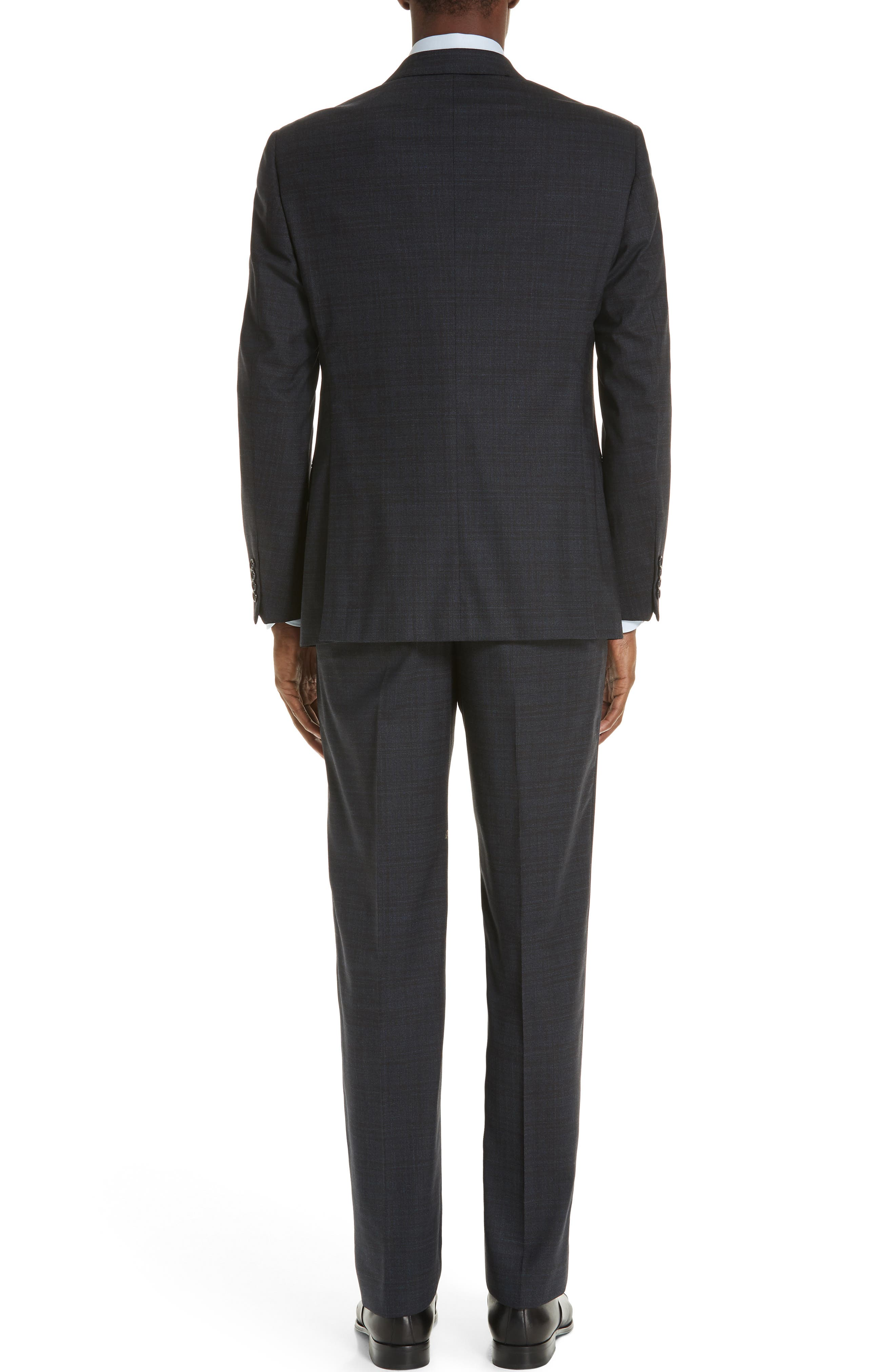 G-Line Trim Fit Stretch Plaid Wool Suit,                             Alternate thumbnail 2, color,                             NAVY/ BROWN