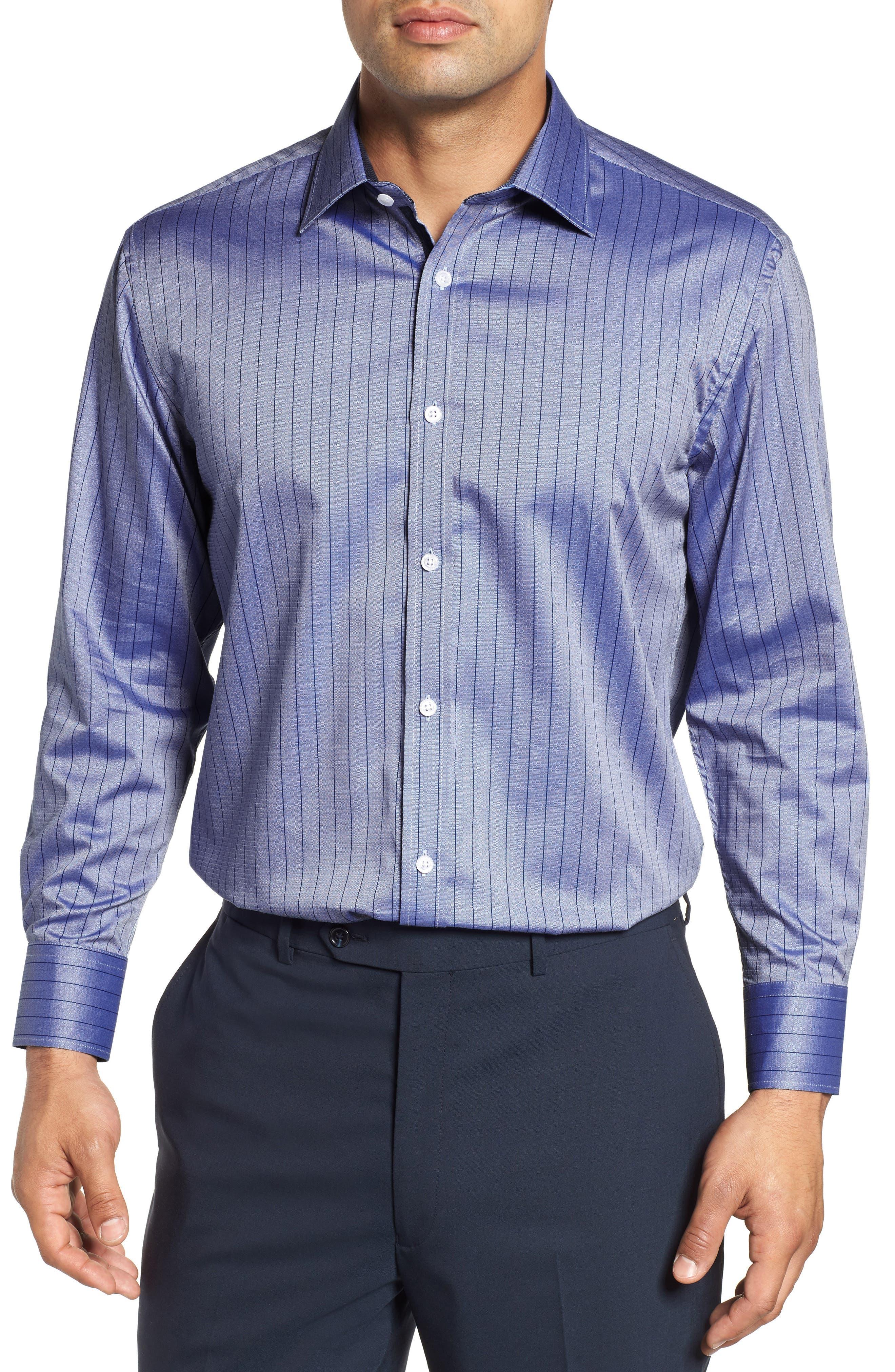 Regular Fit Stripe Dress Shirt,                         Main,                         color, BLUE