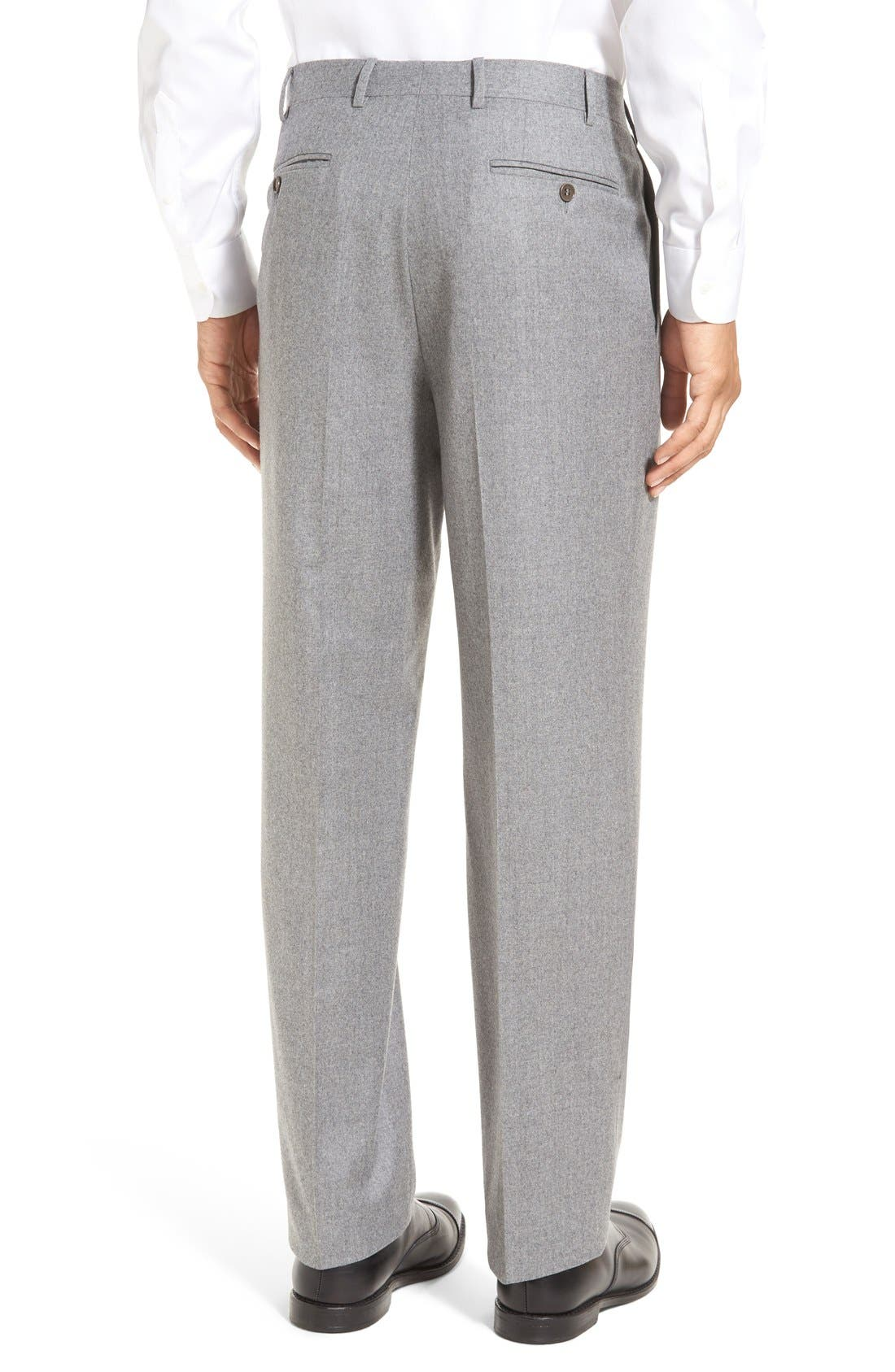 Flat Front Solid Wool Trousers,                             Alternate thumbnail 3, color,                             LIGHT GREY