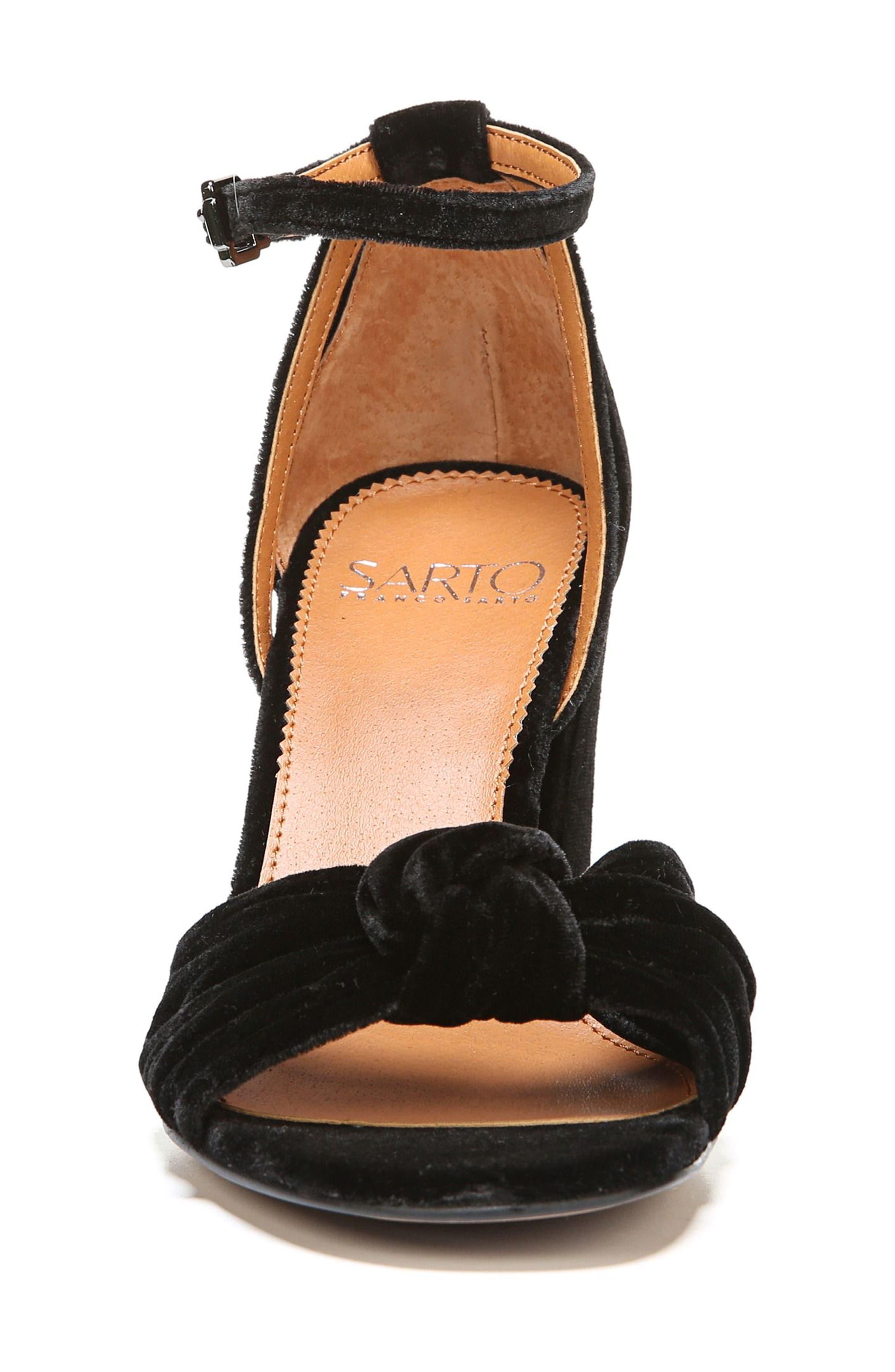 Edana Knotted Block Heel Sandal,                             Alternate thumbnail 4, color,                             001