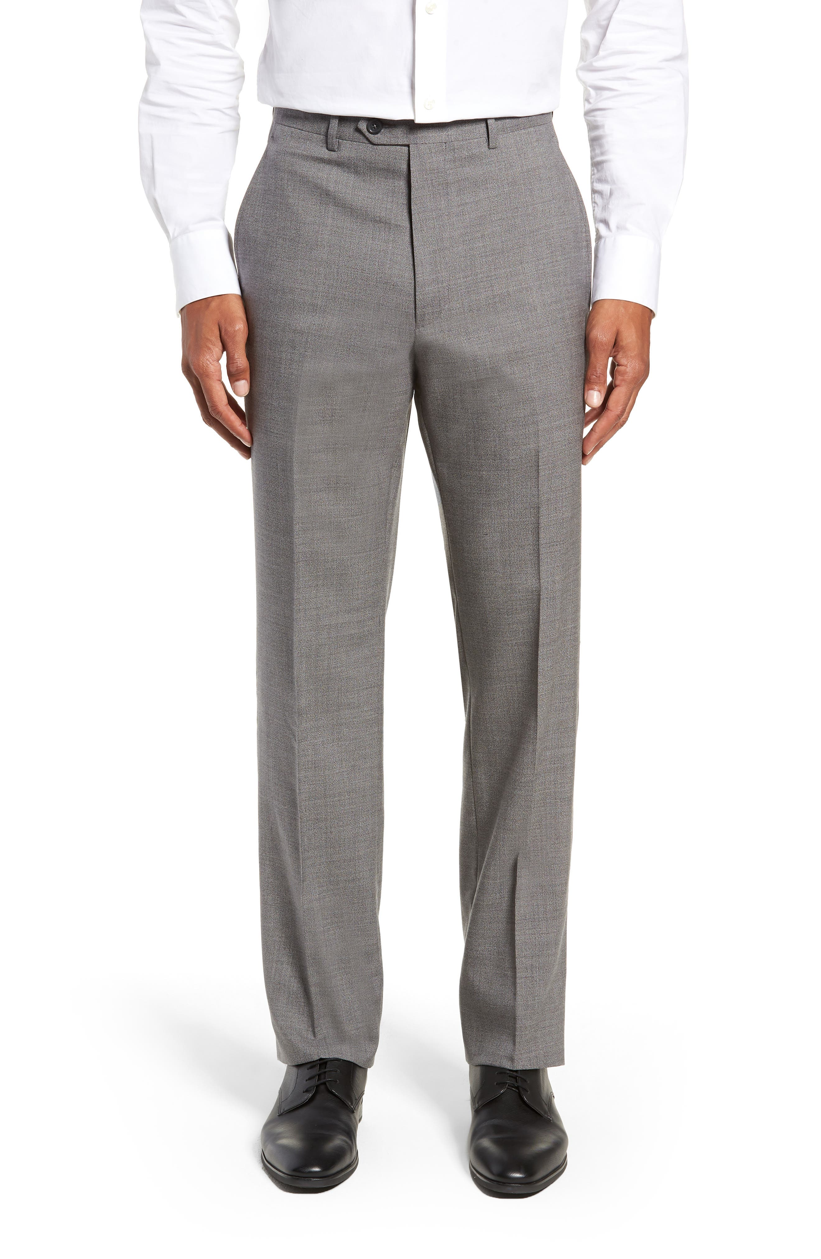 SANTORELLI Flat Front Solid Wool Trousers in Grey