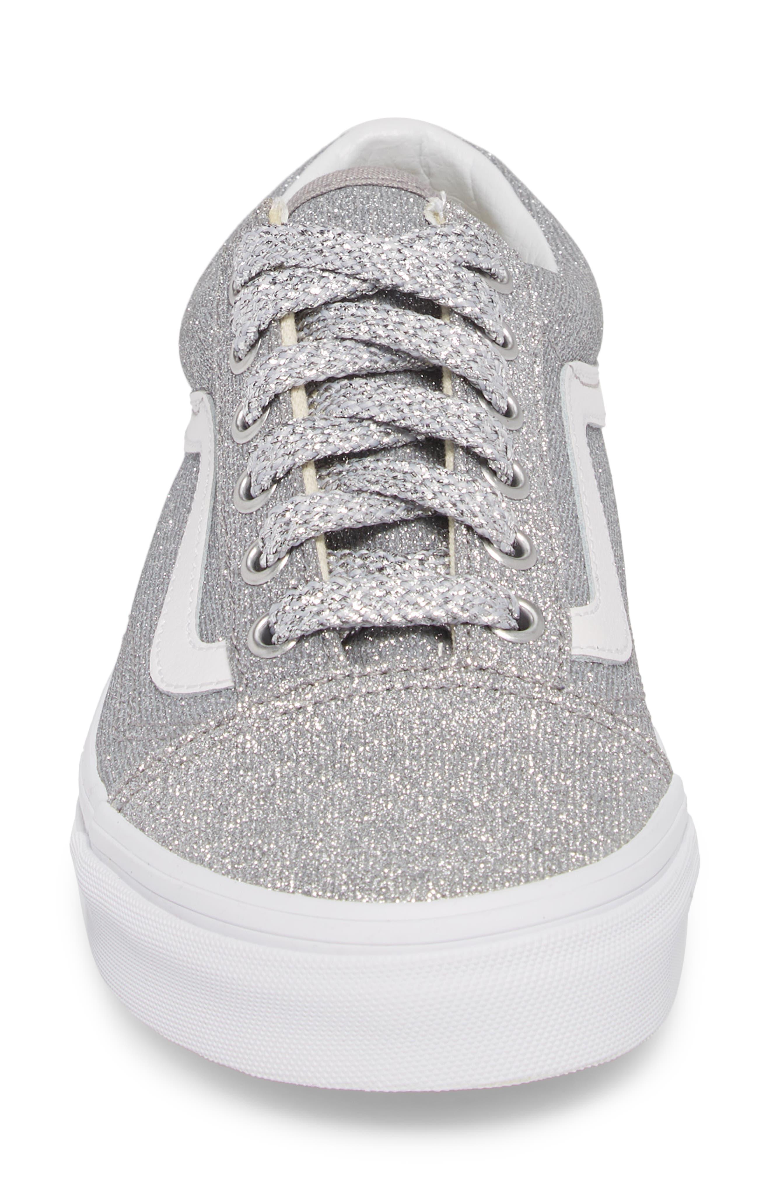UA Old Skool Glitter Low Top Sneaker,                             Alternate thumbnail 4, color,                             SILVER/ TRUE WHITE GLITTER
