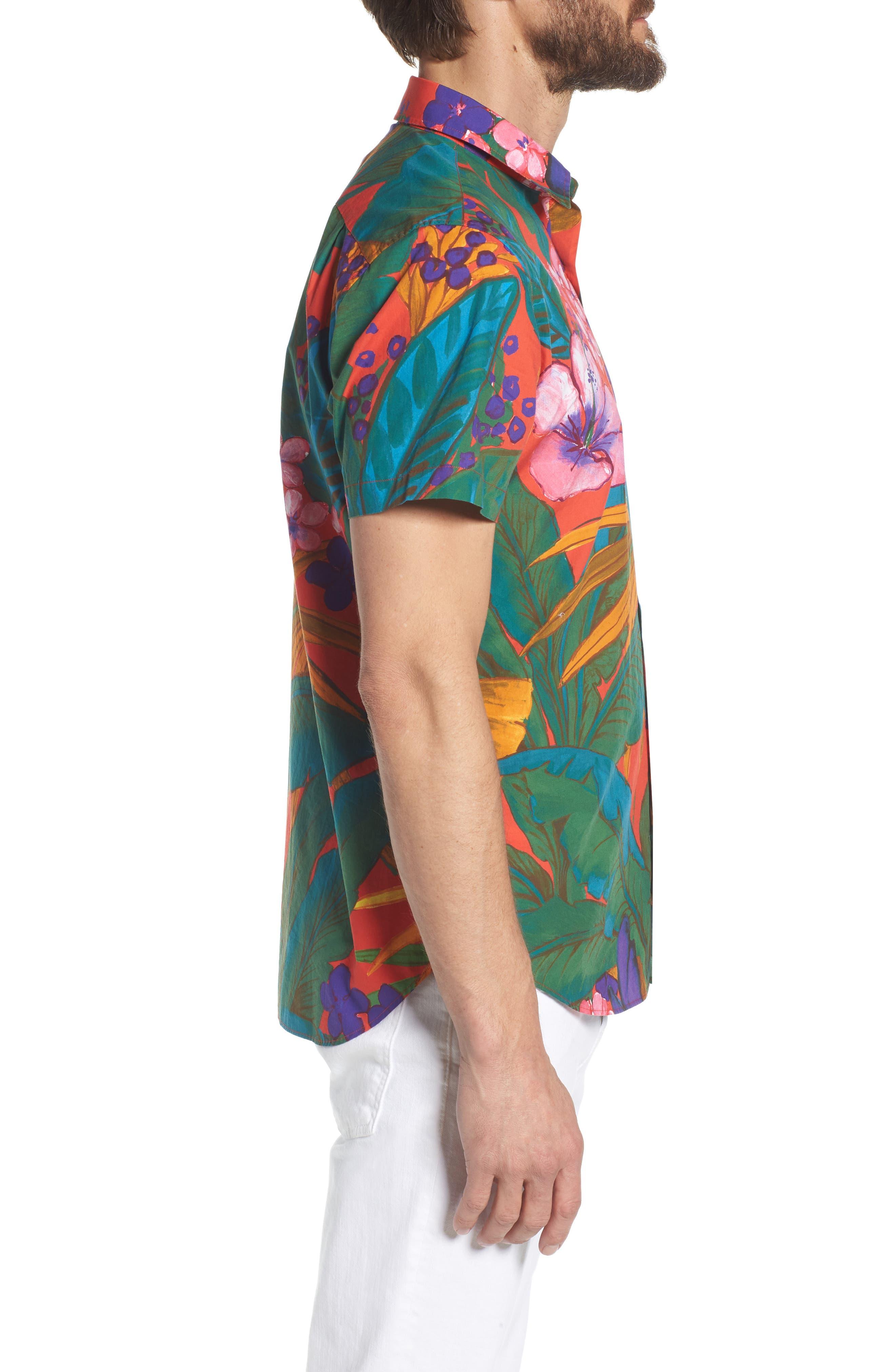 Premium Slim Fit Print Sport Shirt,                             Alternate thumbnail 3, color,                             650