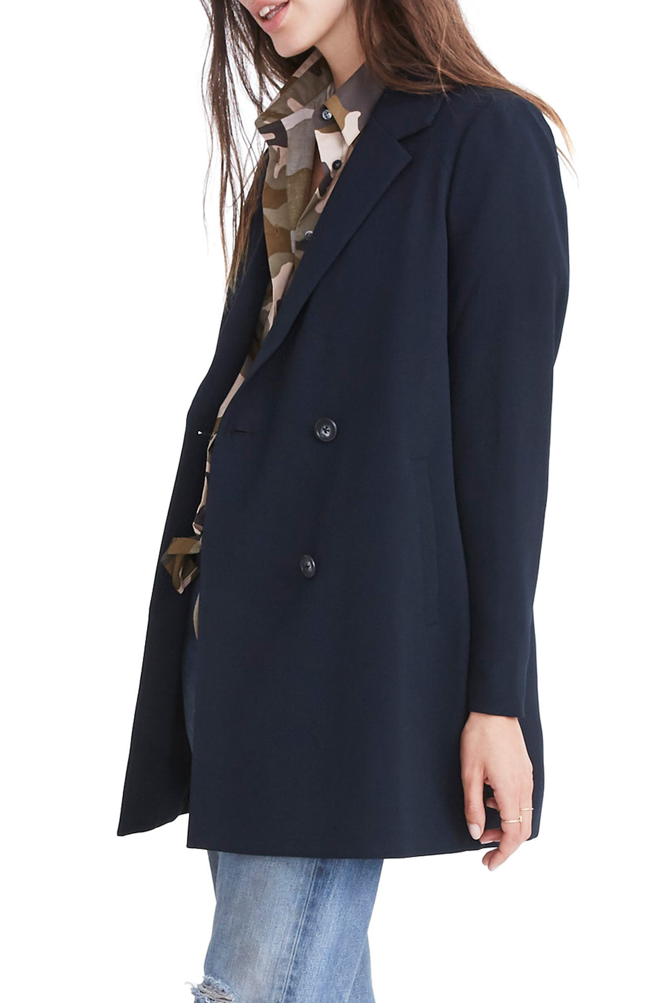 Caldwell Double Breasted Blazer,                             Alternate thumbnail 4, color,                             TRUE BLACK