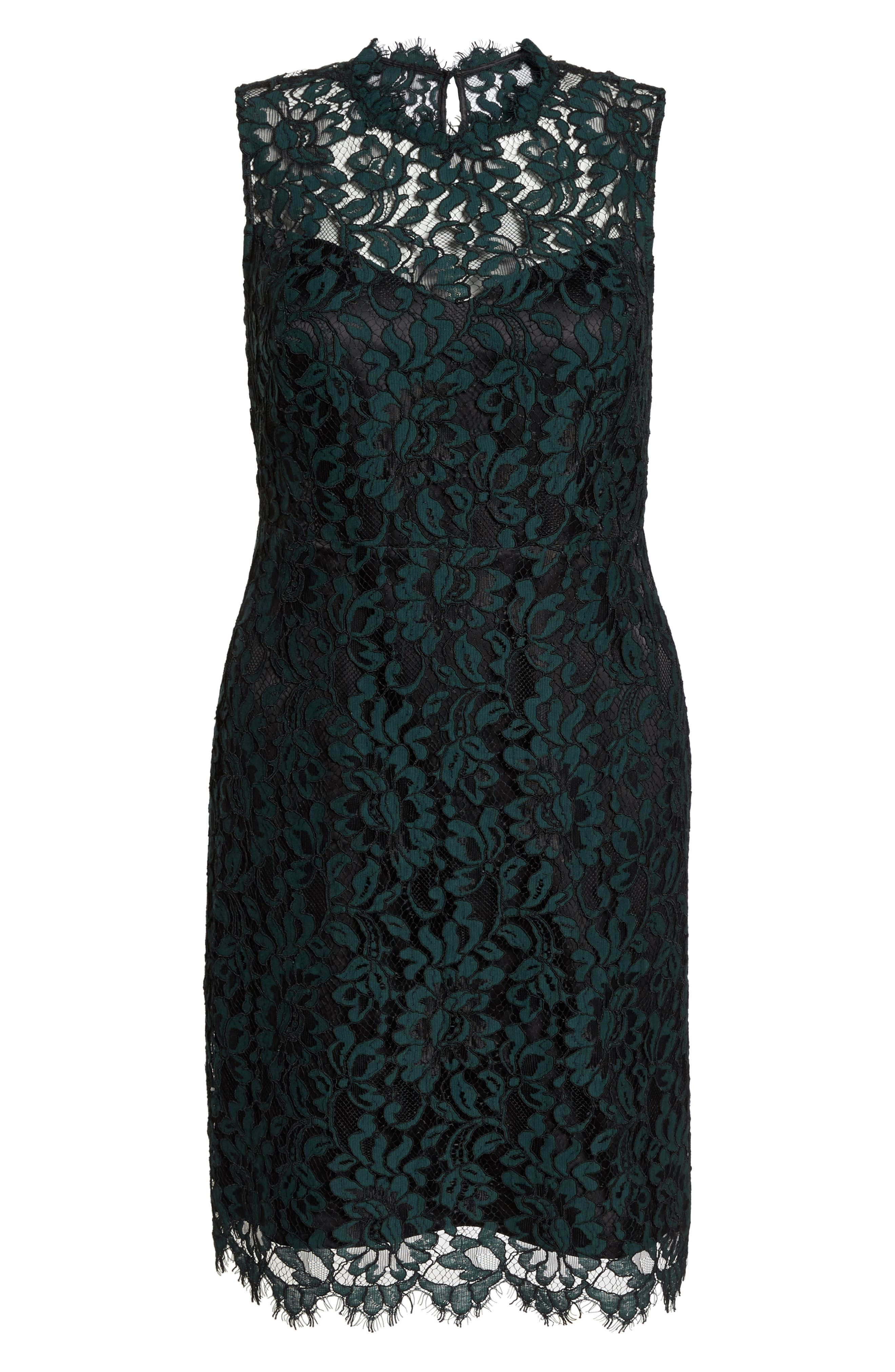 Lace Sheath Dress,                             Alternate thumbnail 7, color,                             GREEN