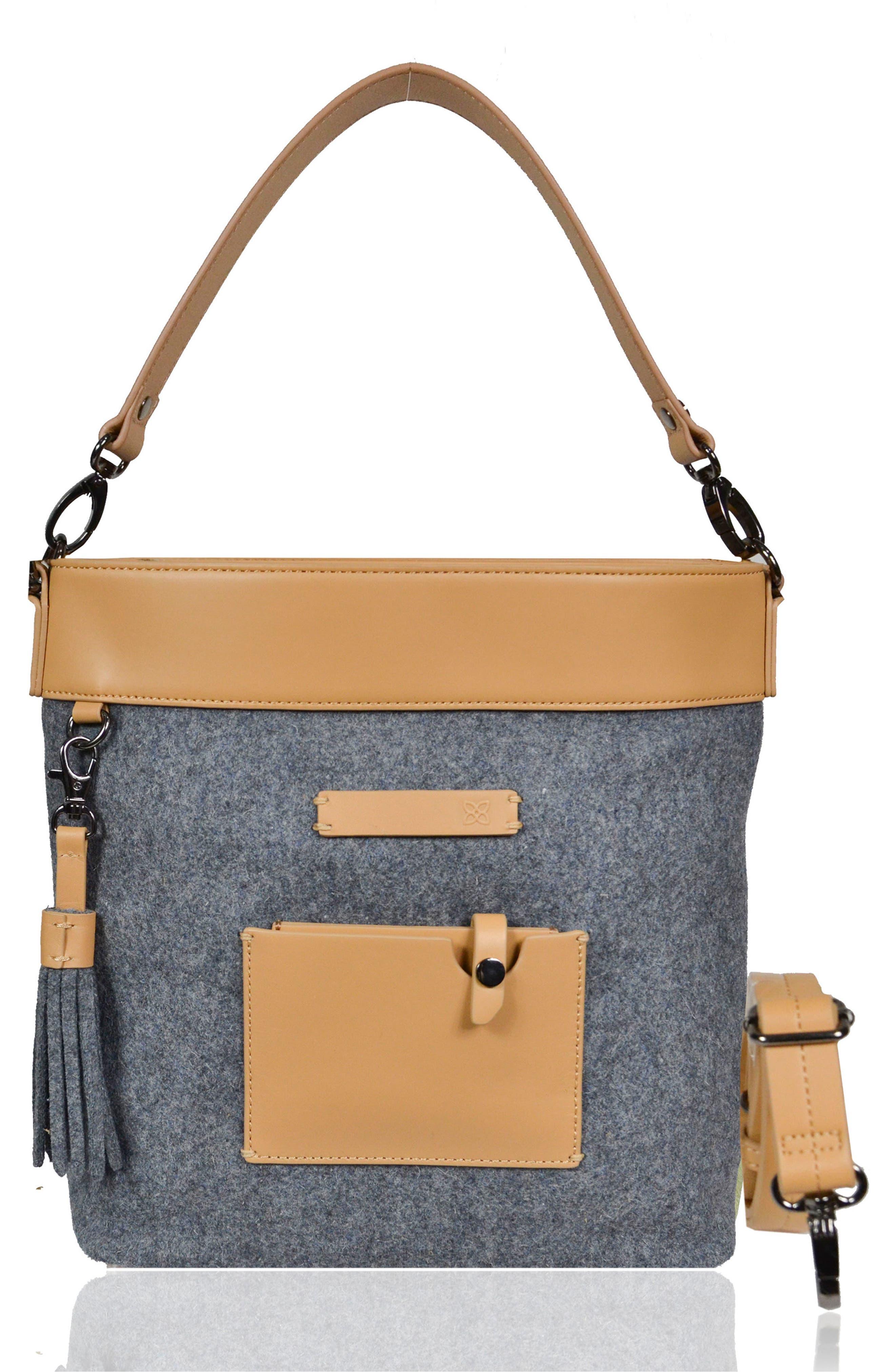 Boheme Wool & Leather Convertible Crossbody Bag,                             Main thumbnail 1, color,