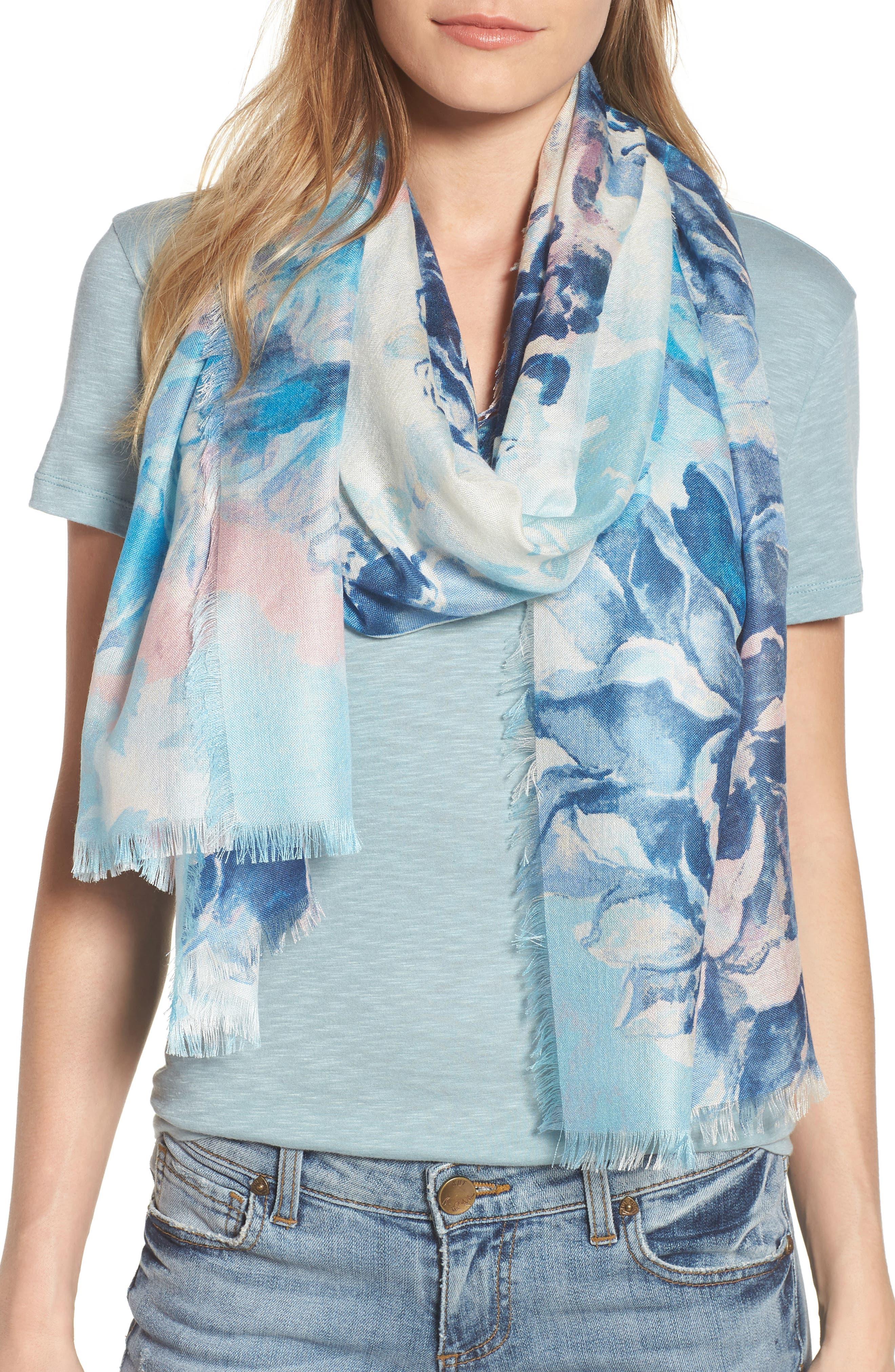 Eyelash Trim Print Cashmere & Silk Wrap,                             Main thumbnail 11, color,