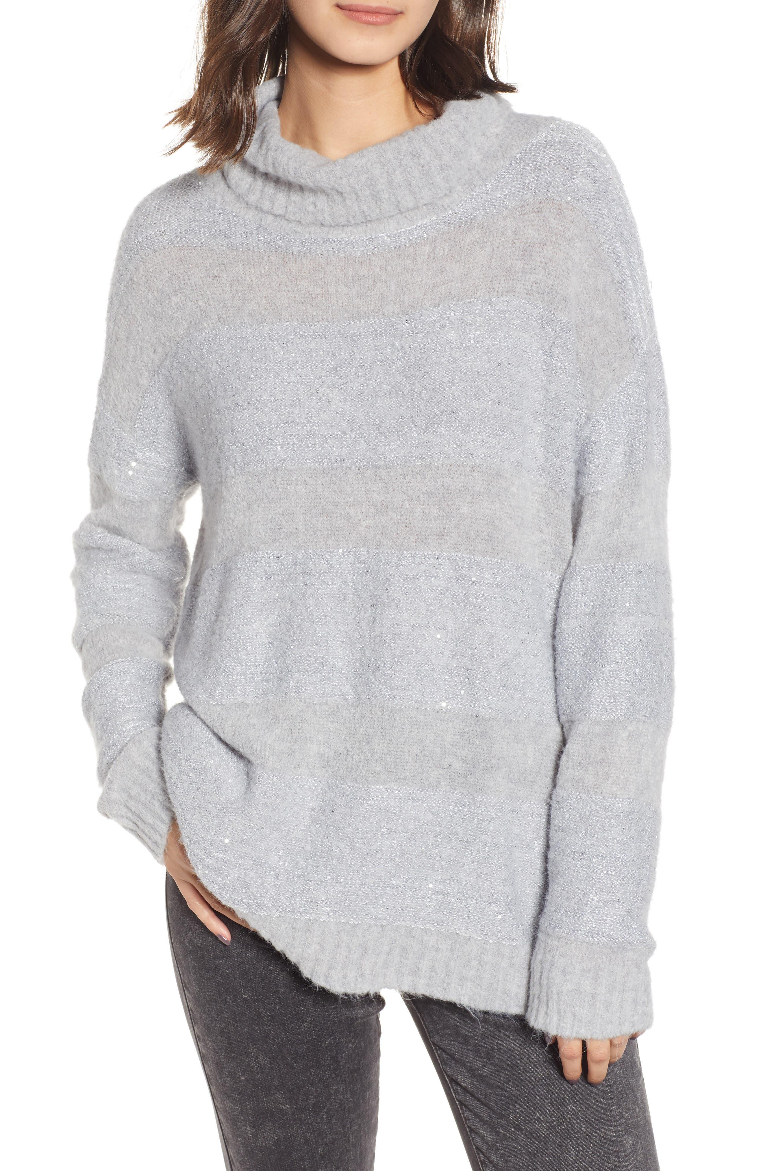 Chelsea28 Sequin Stripe Cowl Neck Sweater, Grey