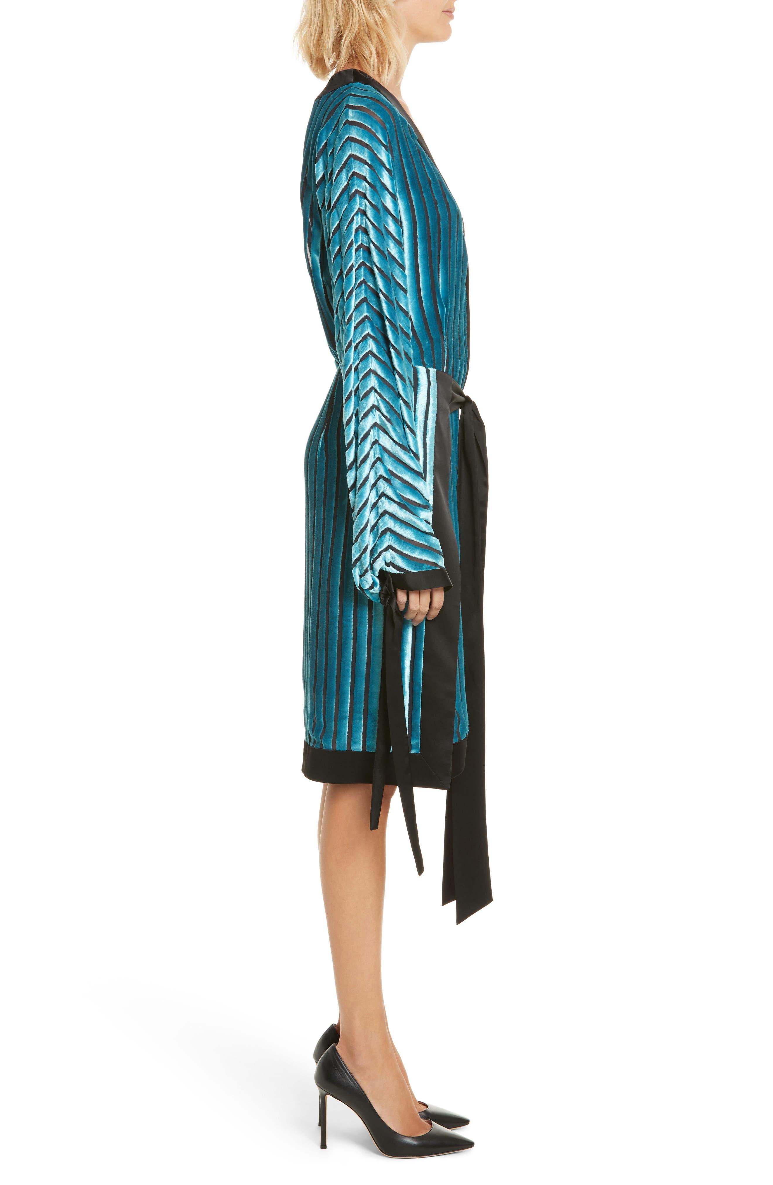 Velvet Burnout Kimono Dress,                             Alternate thumbnail 3, color,                             401
